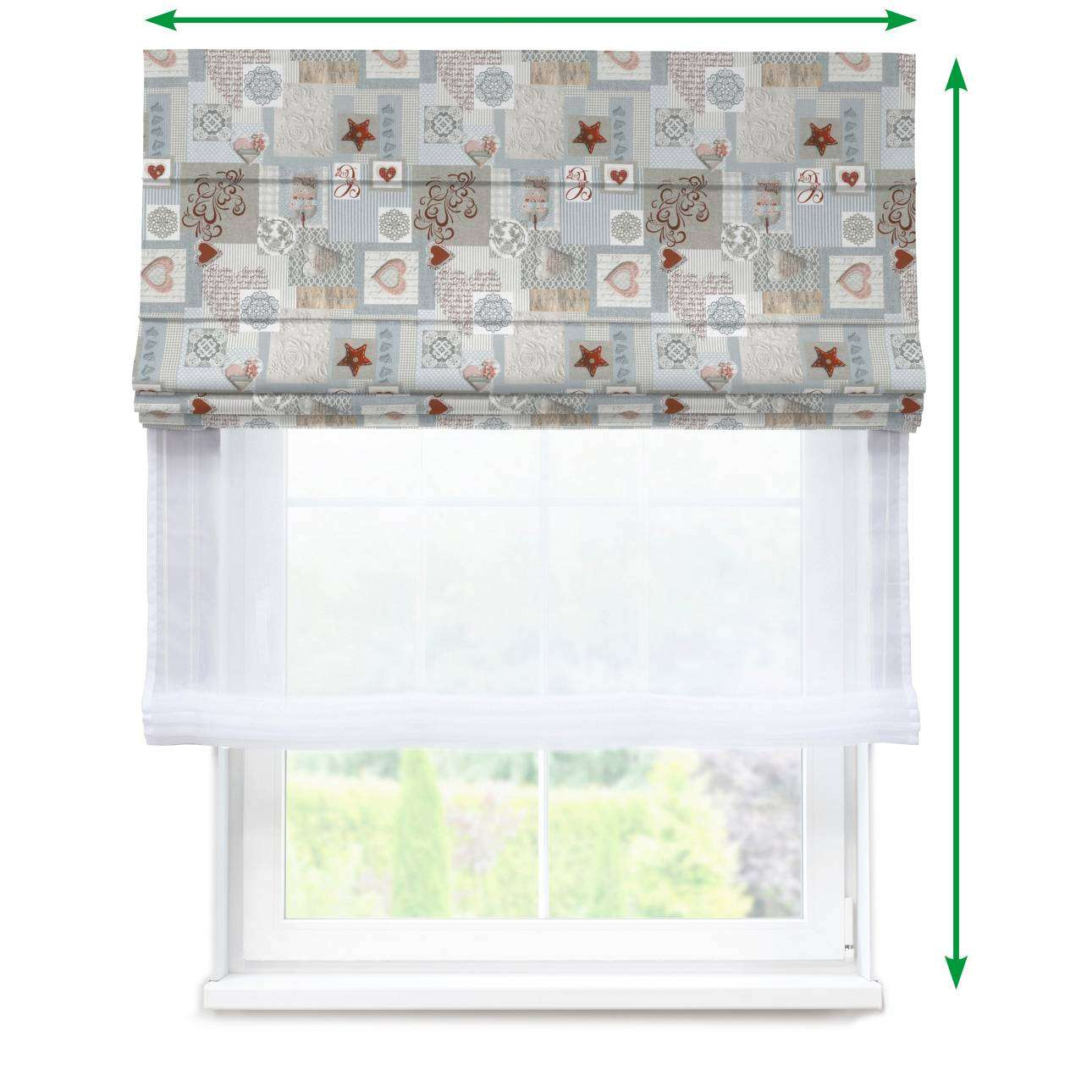 Voile and fabric roman blind (DUO II) in collection Christmas, fabric: 629-27