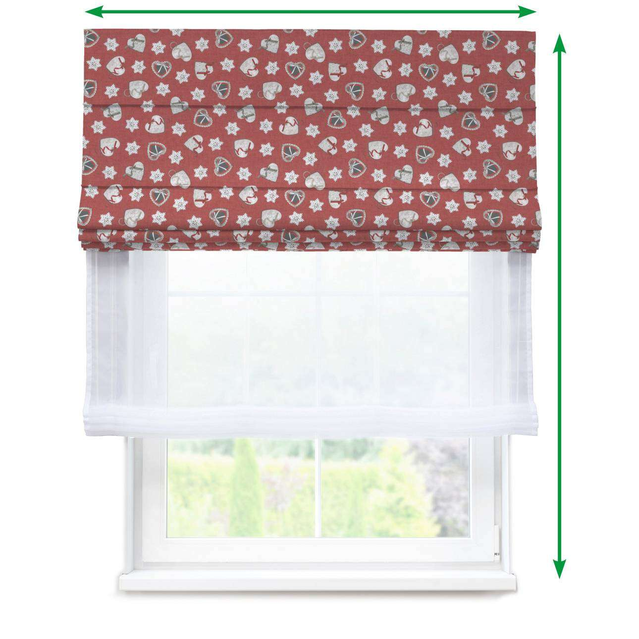 Voile and fabric roman blind (DUO II) in collection Christmas, fabric: 629-29