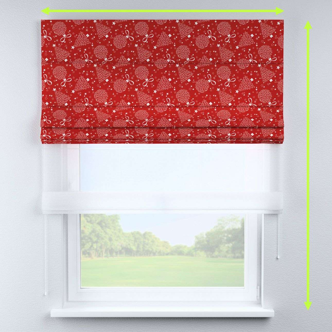 Voile and fabric roman blind (DUO II) in collection Christmas, fabric: 629-32