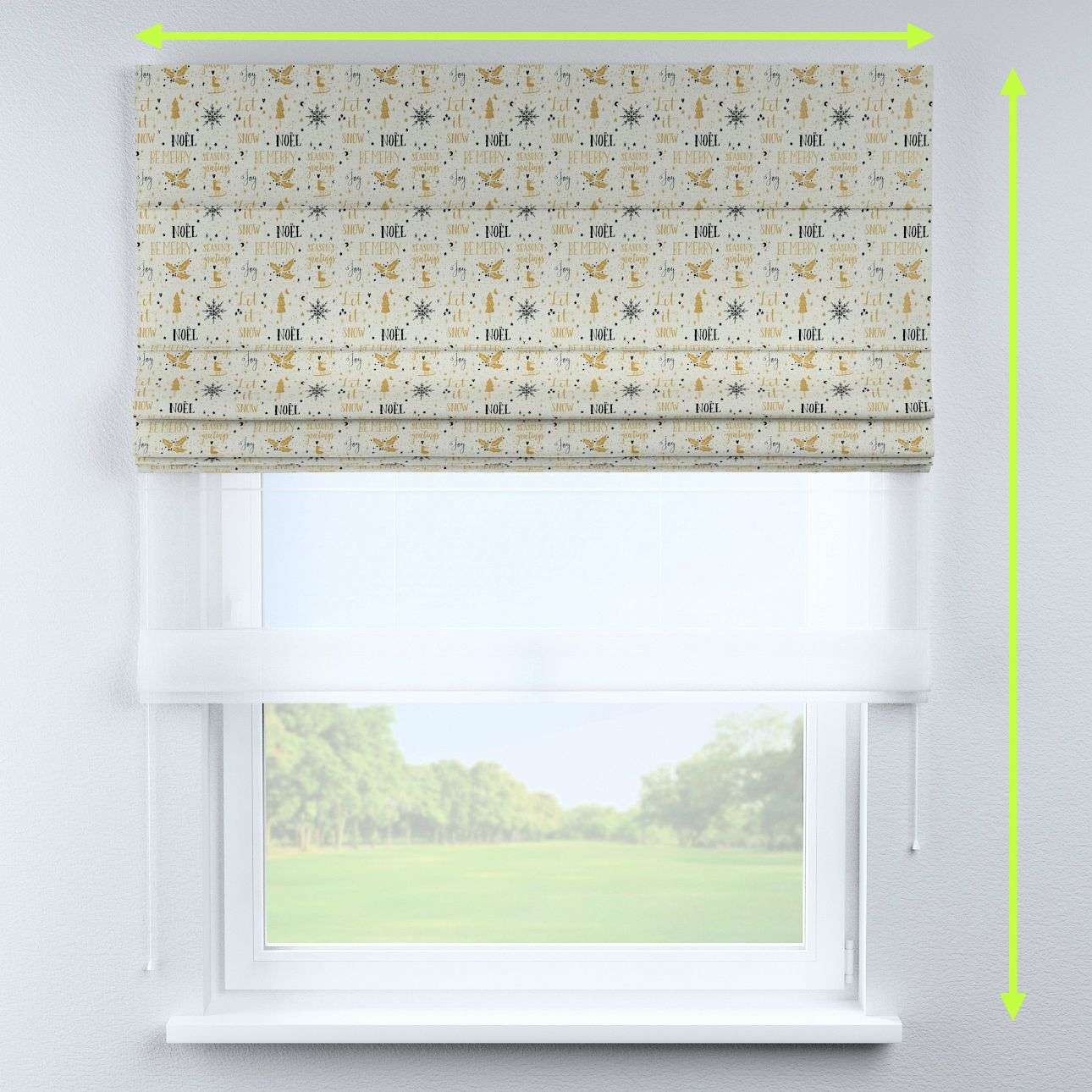 Voile and fabric roman blind (DUO II) in collection Christmas, fabric: 629-34