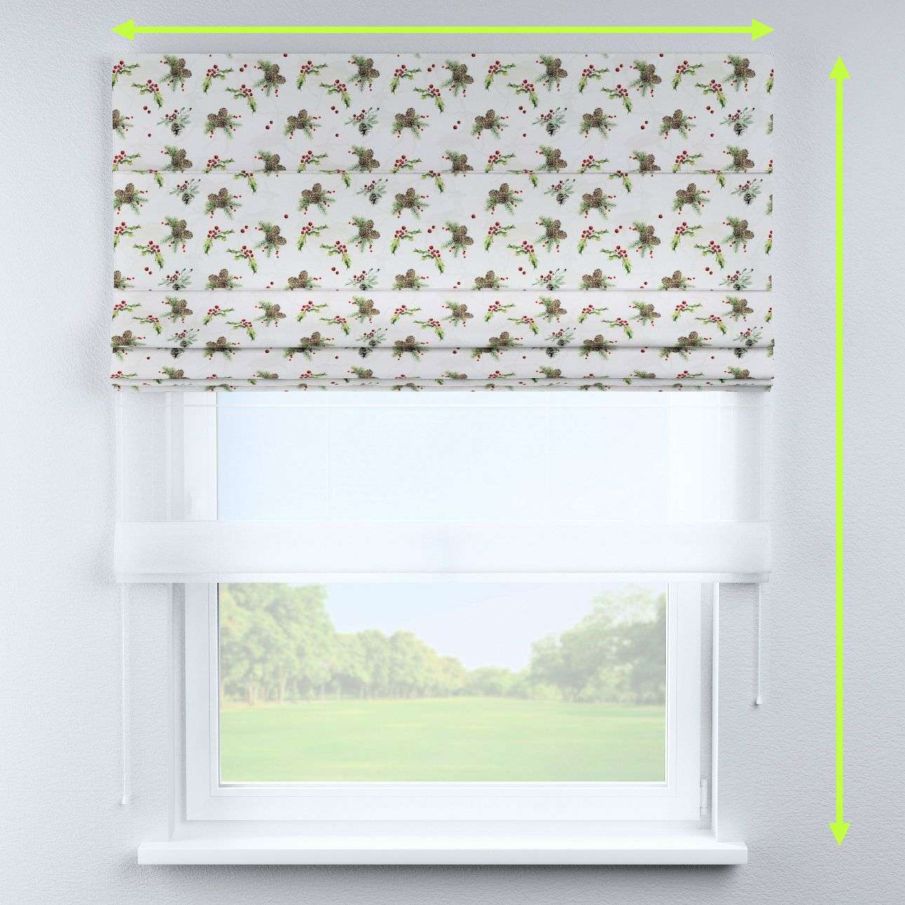 Voile and fabric roman blind (DUO II) in collection Christmas, fabric: 629-35