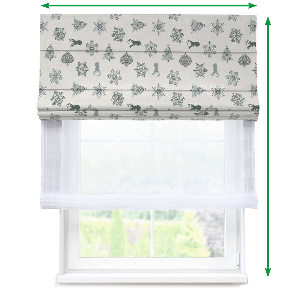Voile and fabric roman blind (DUO II) in collection Christmas, fabric: 630-24