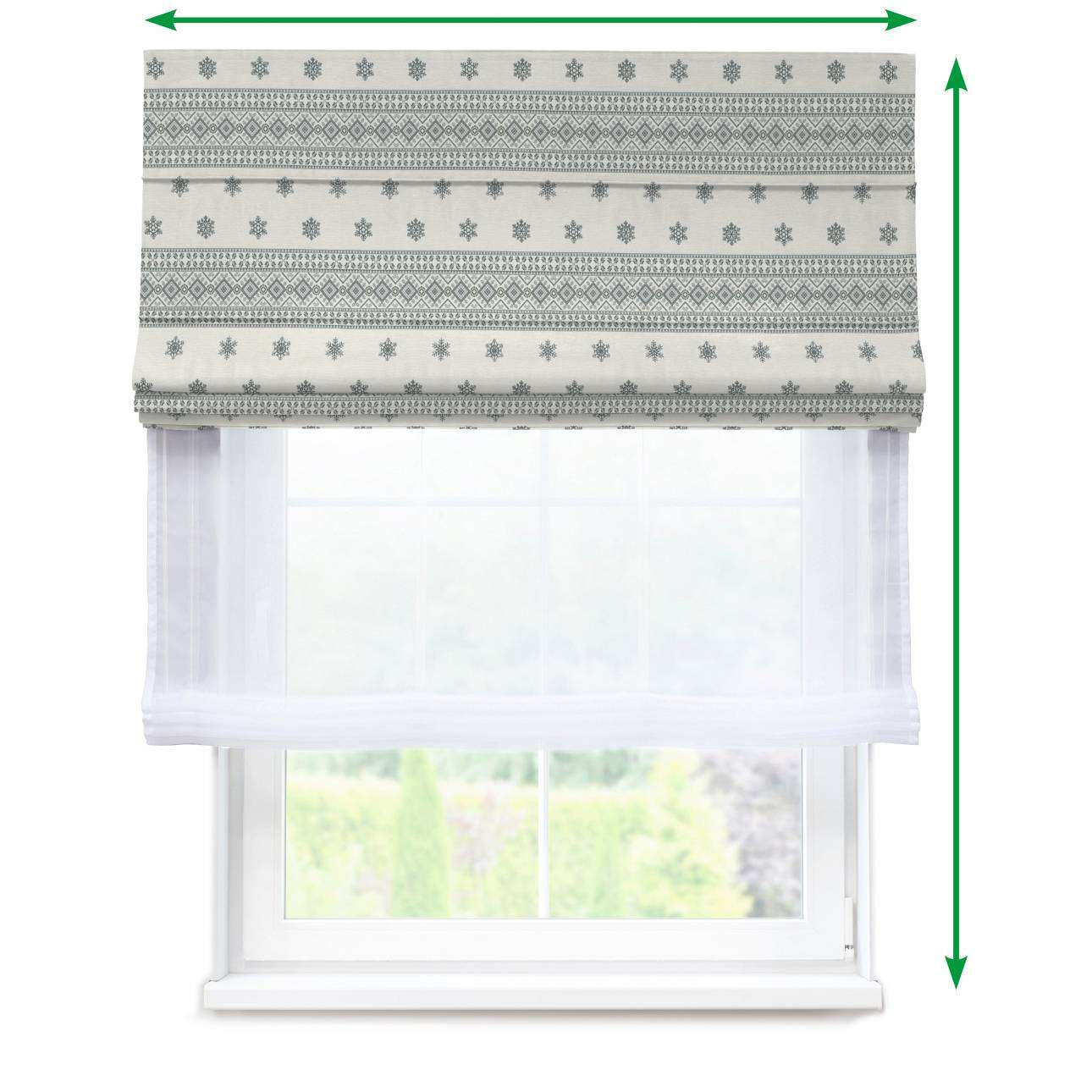 Voile and fabric roman blind (DUO II) in collection Christmas, fabric: 630-25