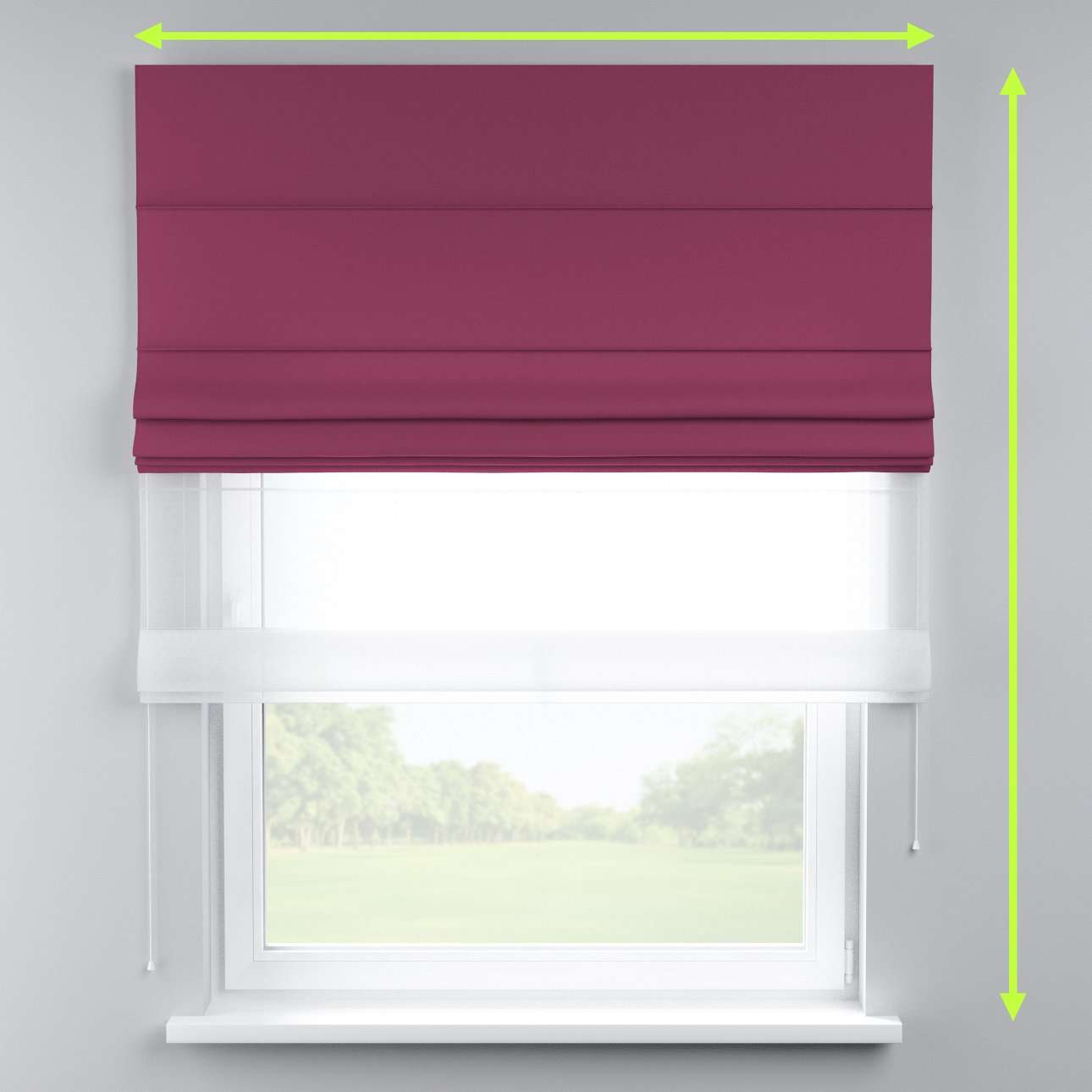 Voile and fabric roman blind (DUO II) in collection Cotton Panama, fabric: 702-32