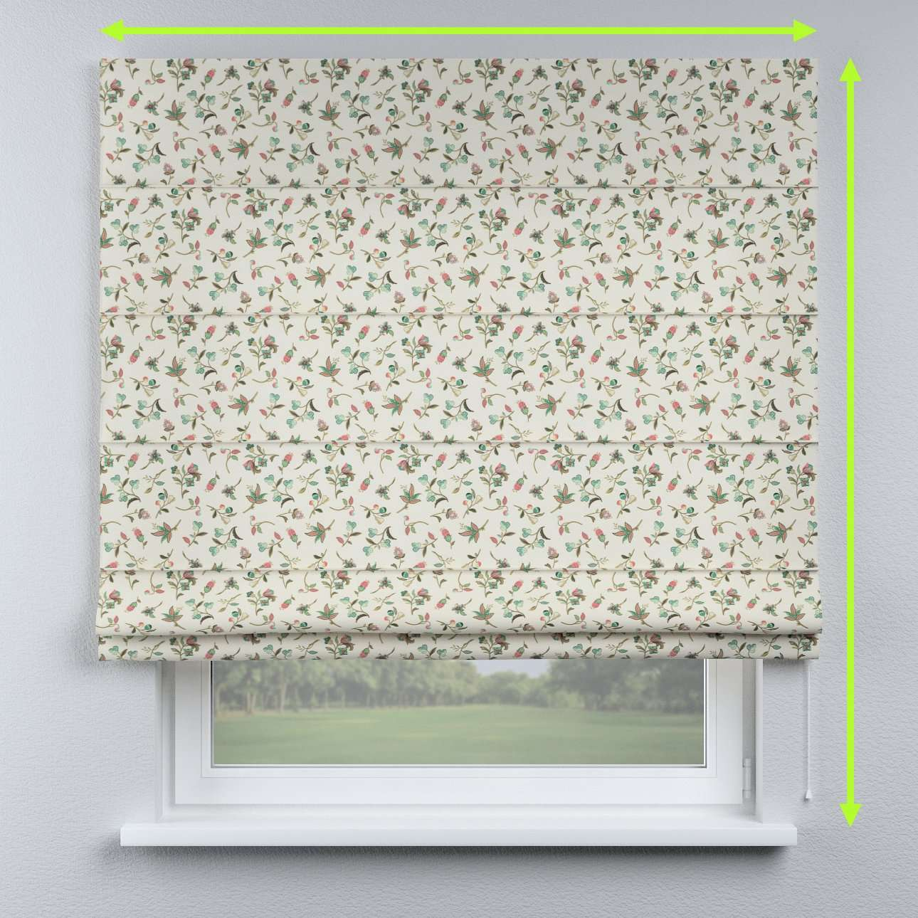 Lined roman blind in collection Londres, fabric: 122-02