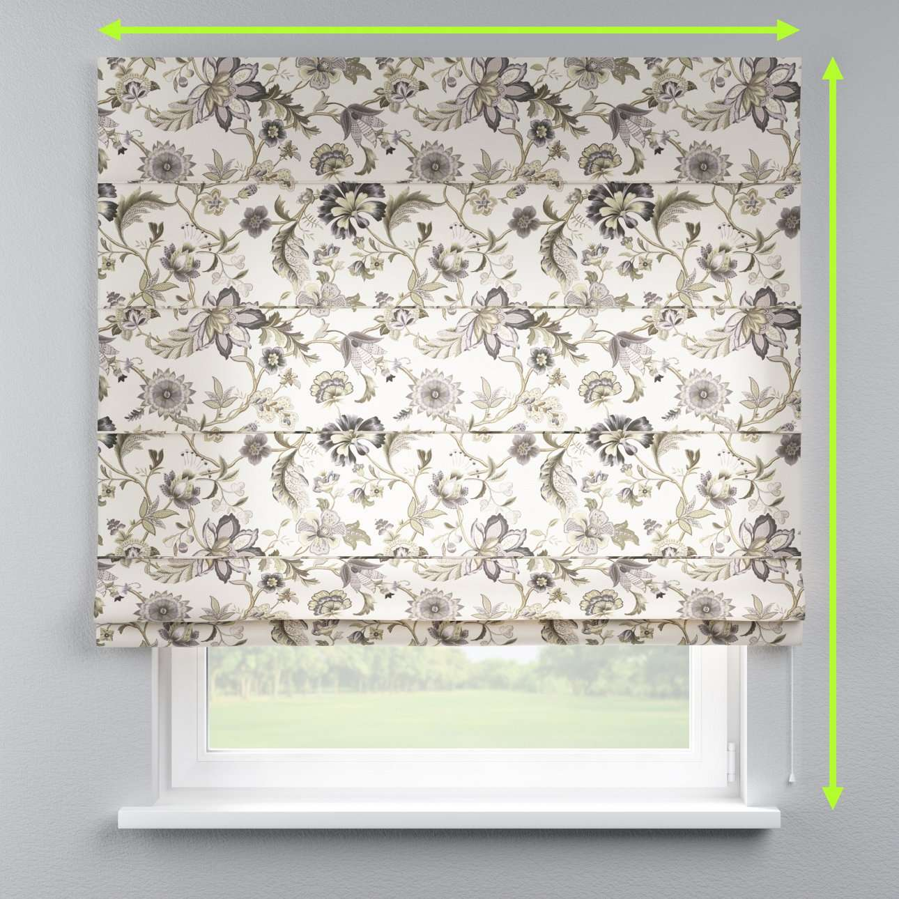 Lined roman blind in collection Londres, fabric: 122-03