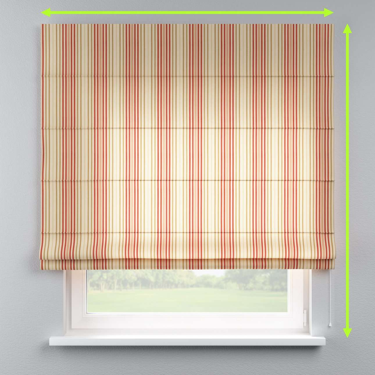 Lined roman blind in collection Londres, fabric: 122-05