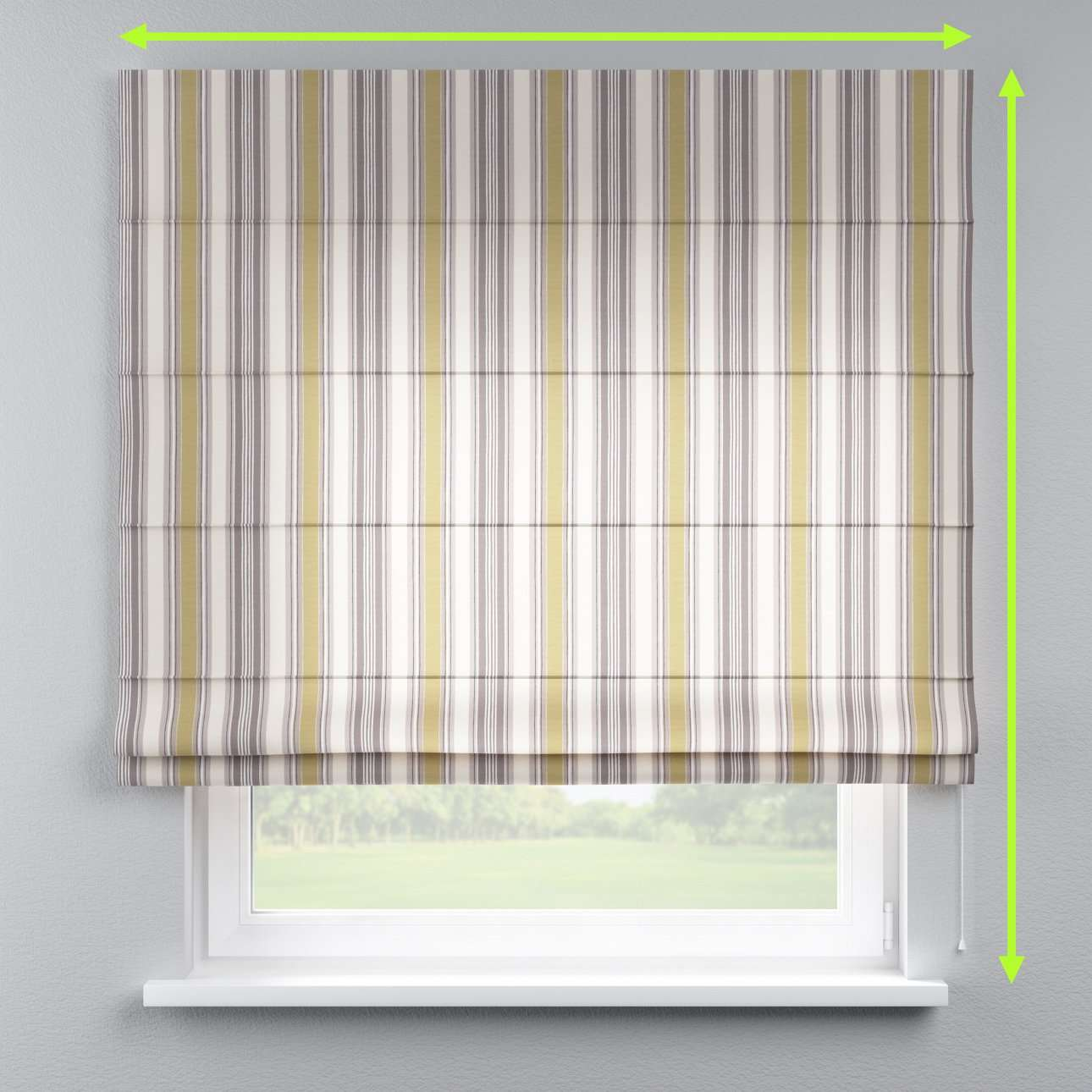 Lined roman blind in collection Londres, fabric: 122-06