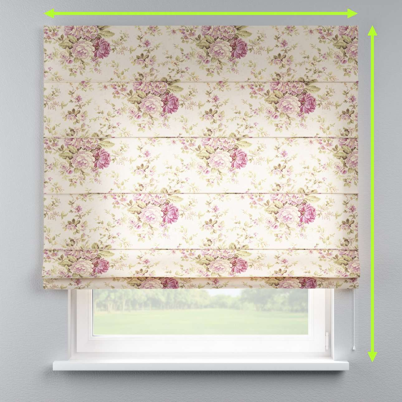 Lined roman blind in collection Londres, fabric: 122-08