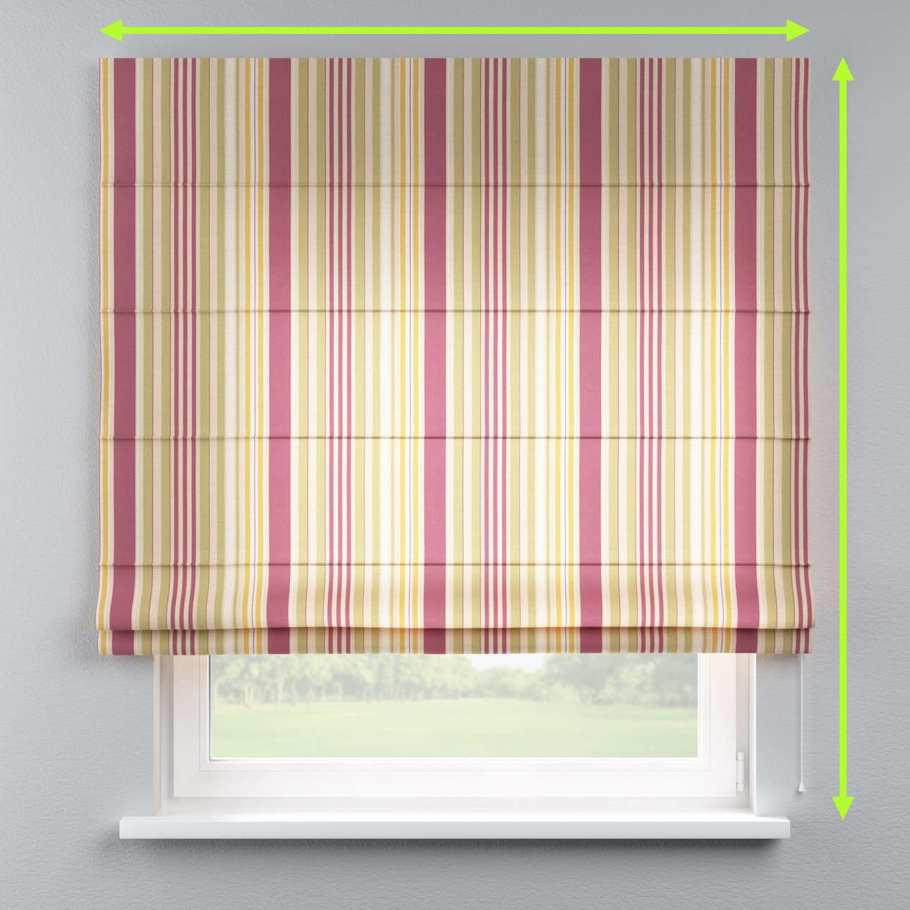 Lined roman blind in collection Londres, fabric: 122-09