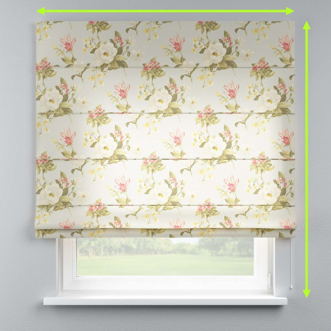 Lined roman blind in collection Londres, fabric: 123-65