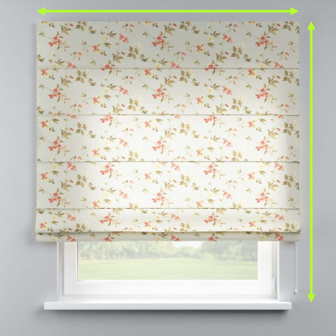 Lined roman blind in collection Londres, fabric: 124-65