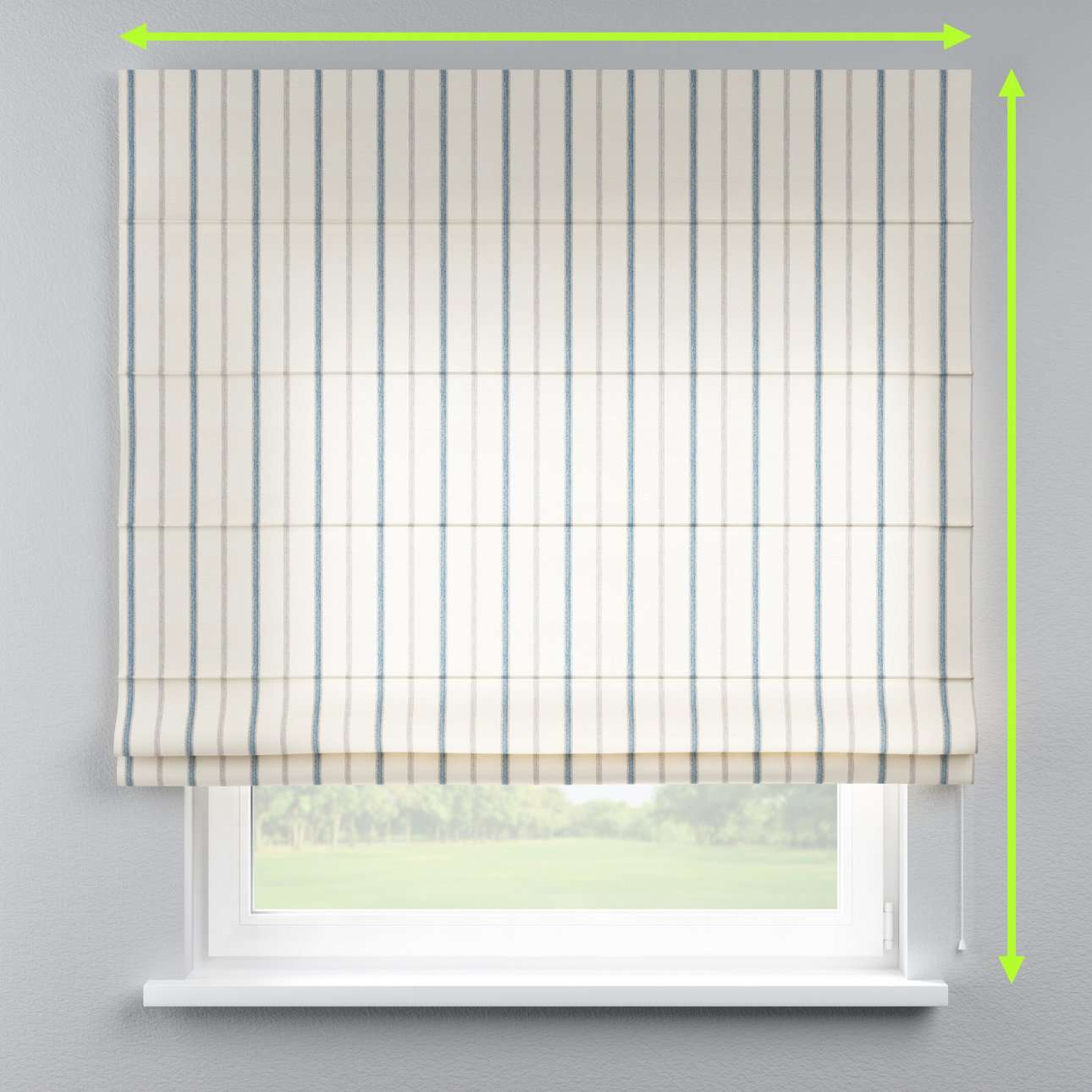 Lined roman blind in collection Avinon, fabric: 129-66