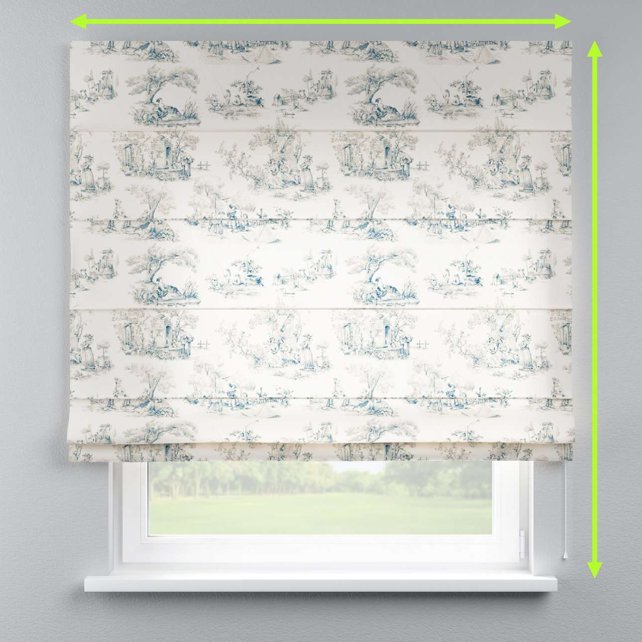 Lined roman blind in collection Avinon, fabric: 132-66