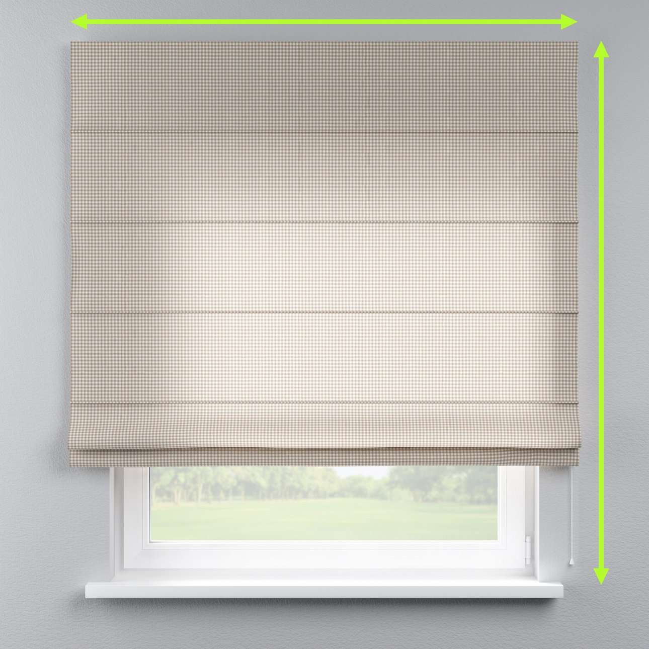 Lined roman blind in collection Quadro, fabric: 136-05