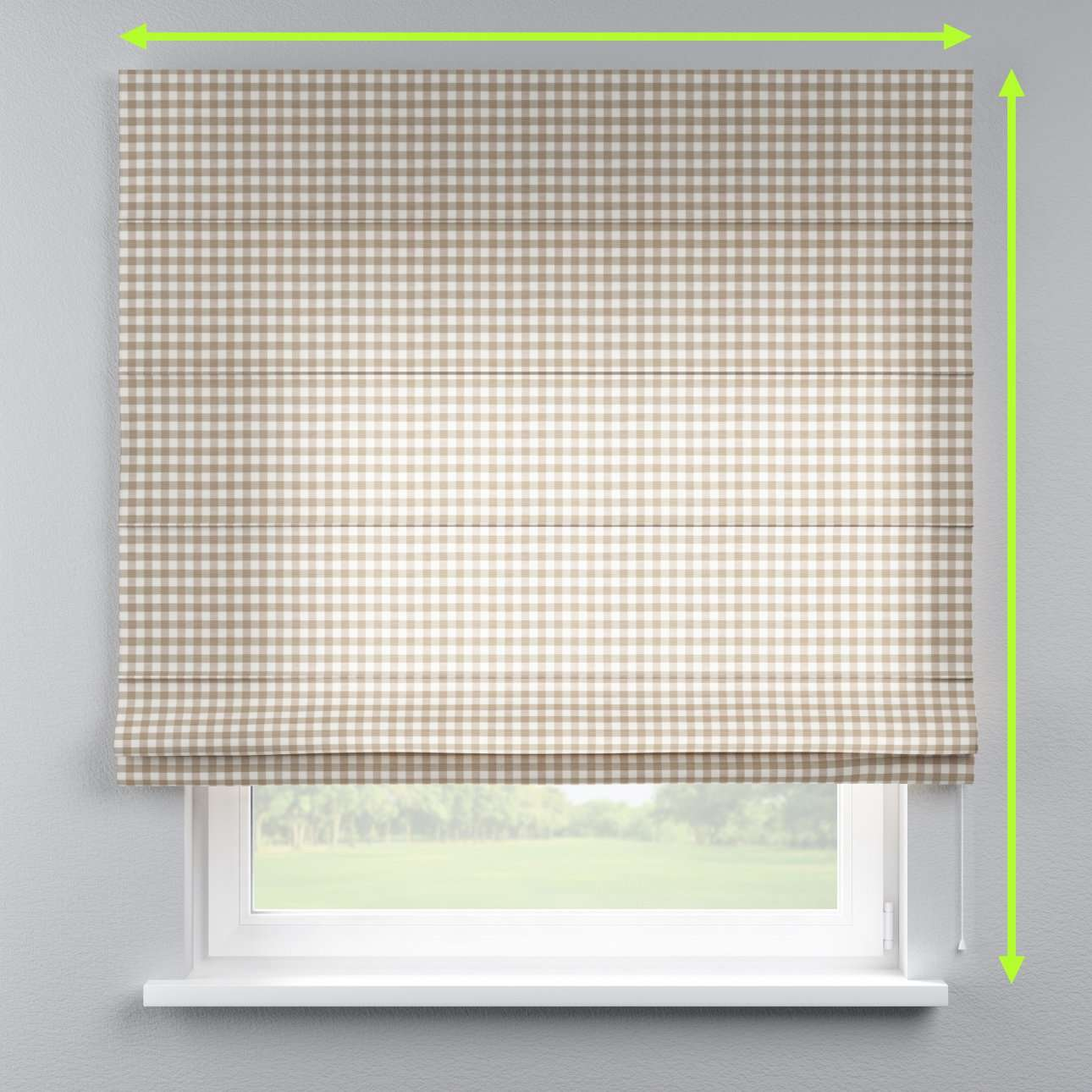 Lined roman blind in collection Quadro, fabric: 136-06