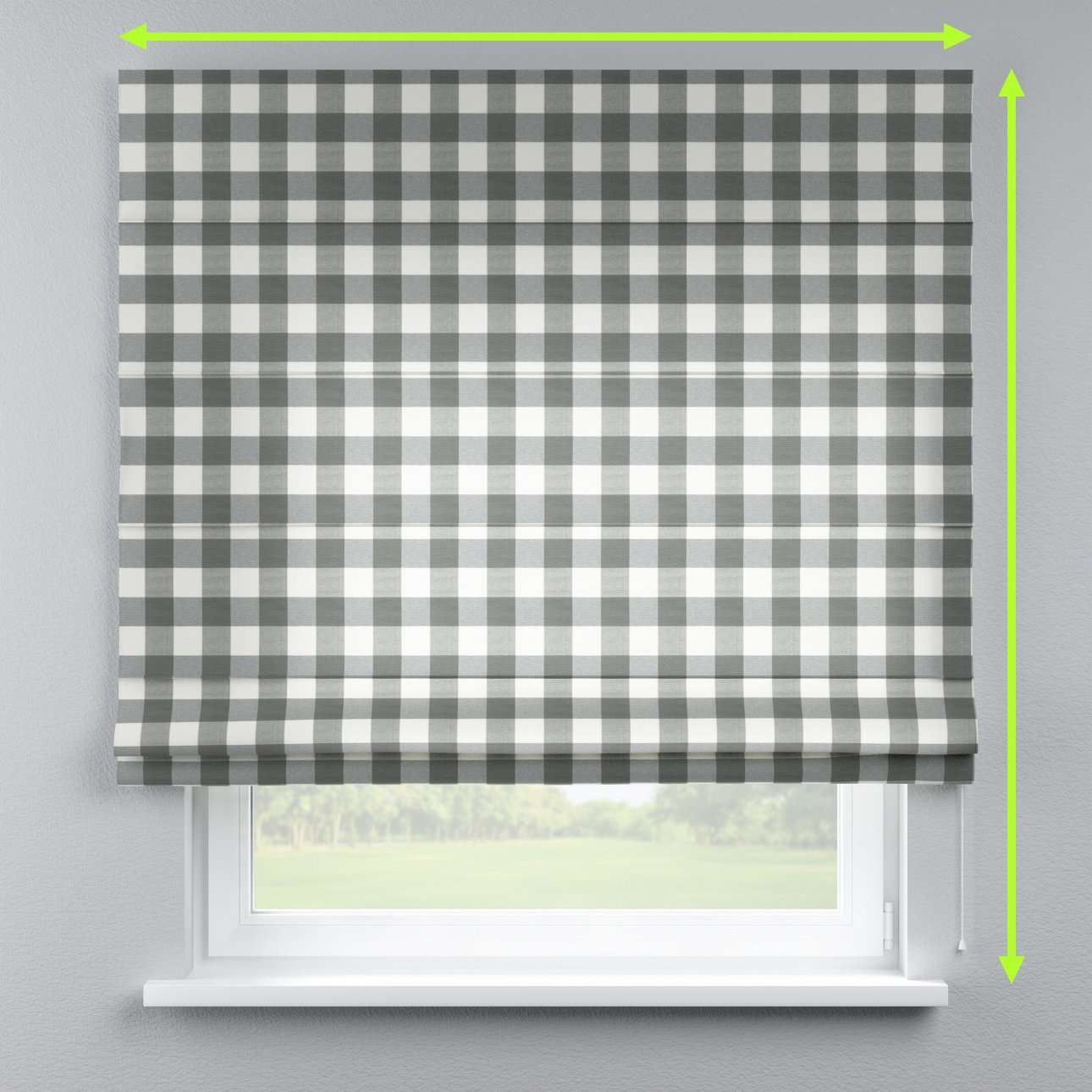 Lined roman blind in collection Quadro, fabric: 136-13