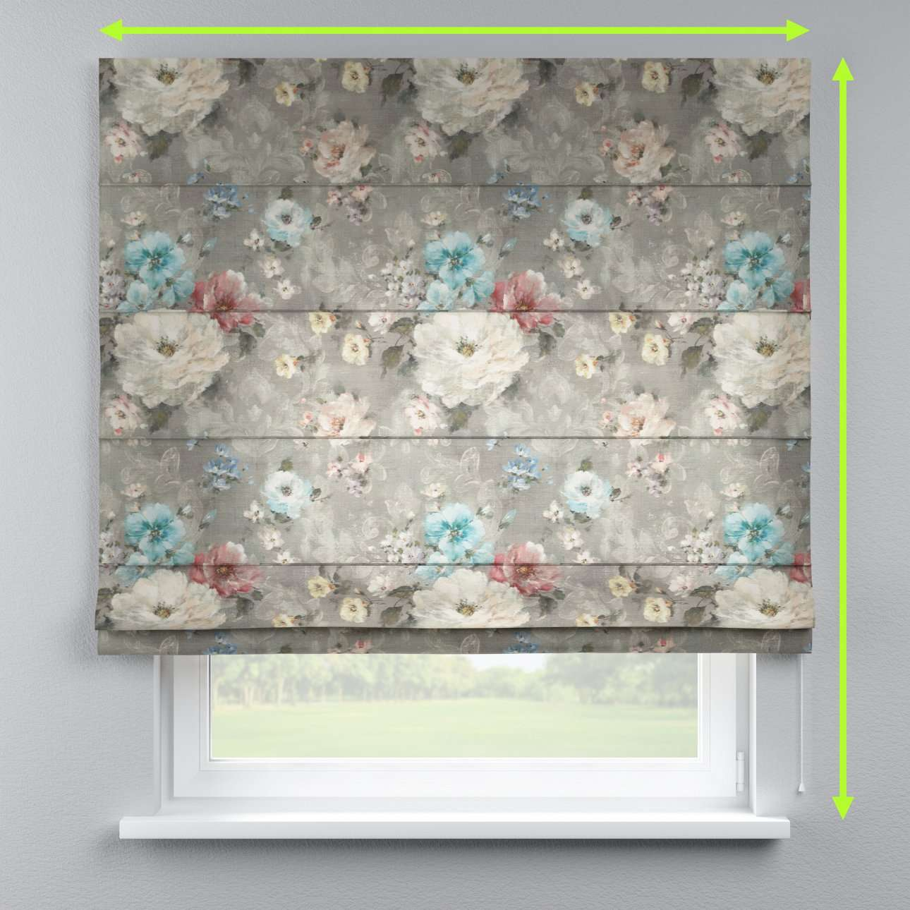 Lined roman blind in collection Monet, fabric: 137-81