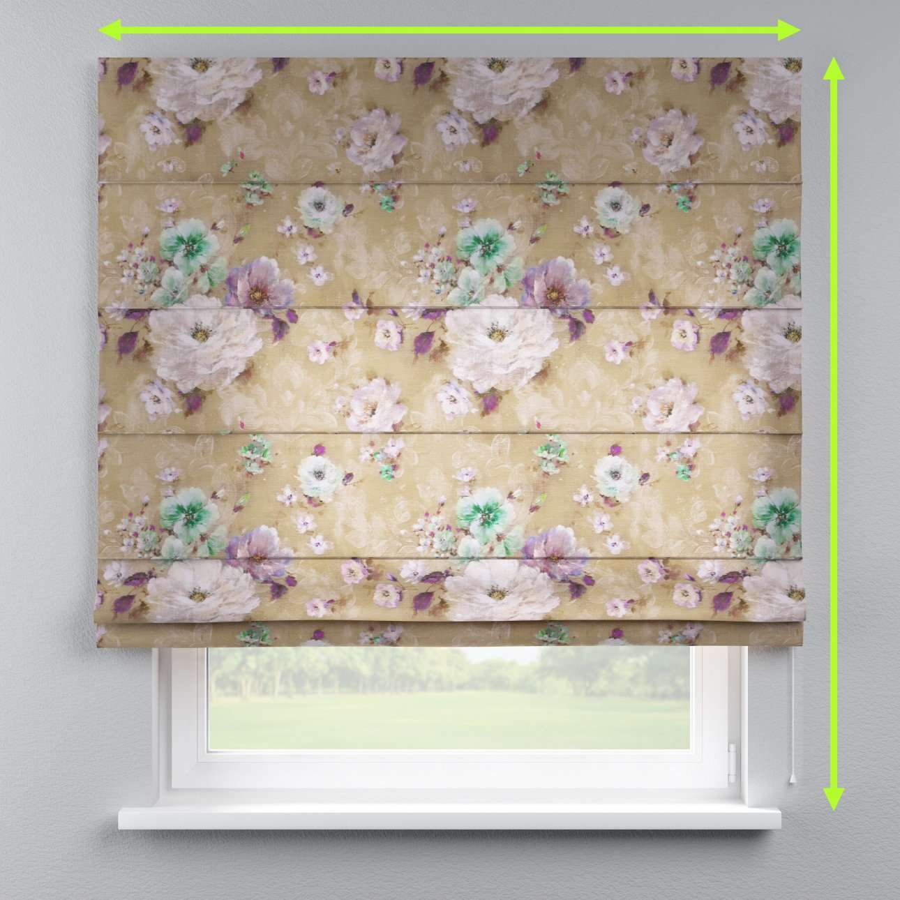 Lined roman blind in collection Monet, fabric: 137-82