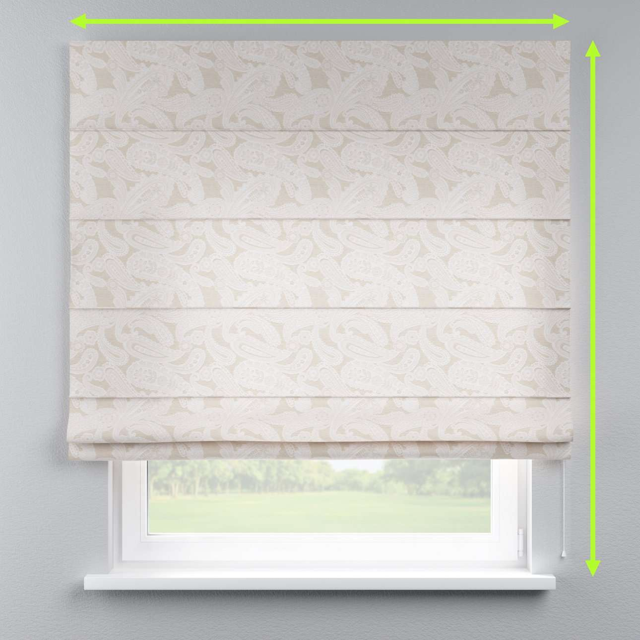 Lined roman blind in collection Rustica, fabric: 138-10