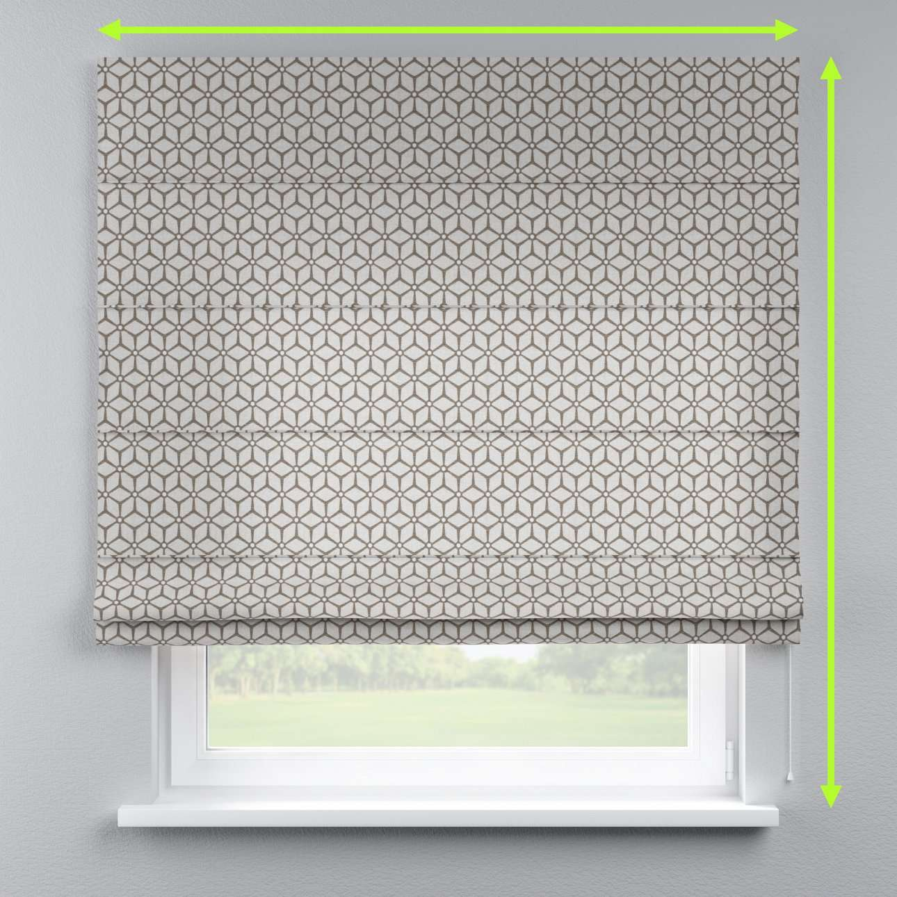 Lined roman blind in collection Rustica, fabric: 138-21