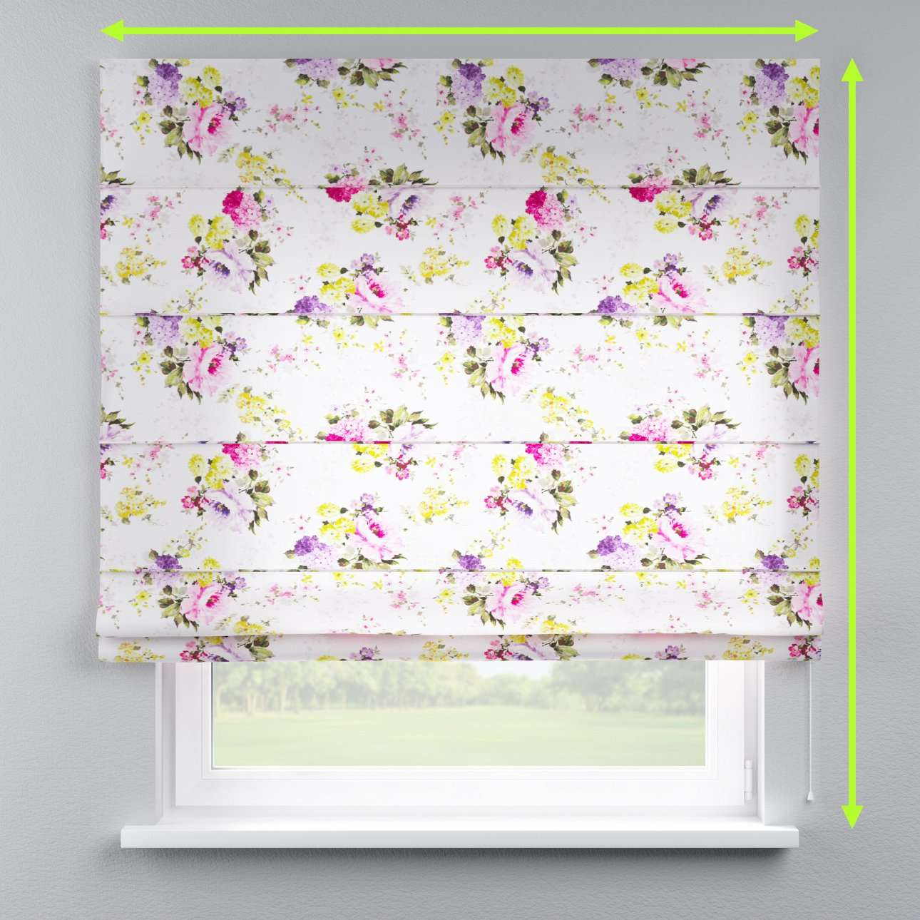 Lined roman blind in collection Monet, fabric: 140-00