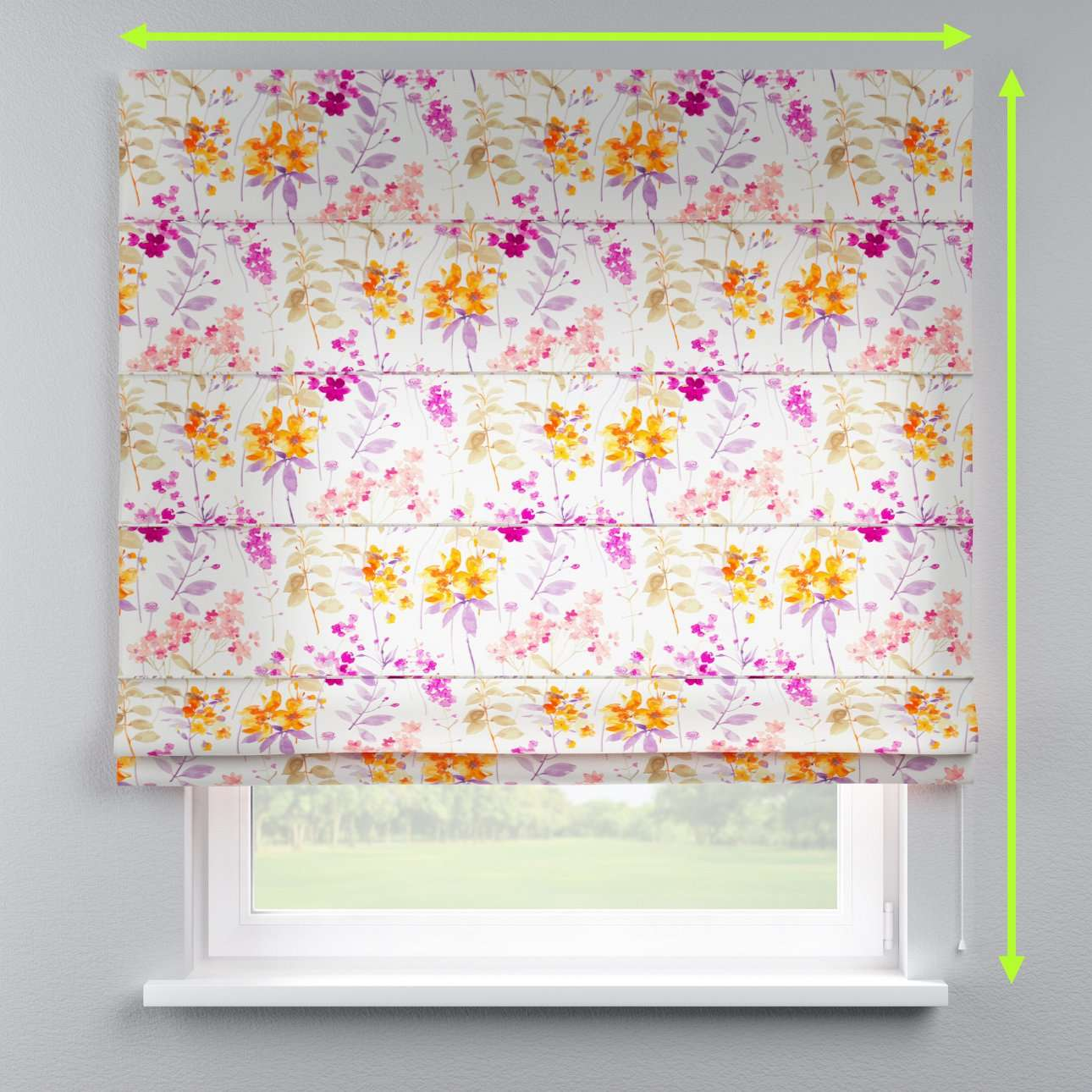 Lined roman blind in collection Monet, fabric: 140-04