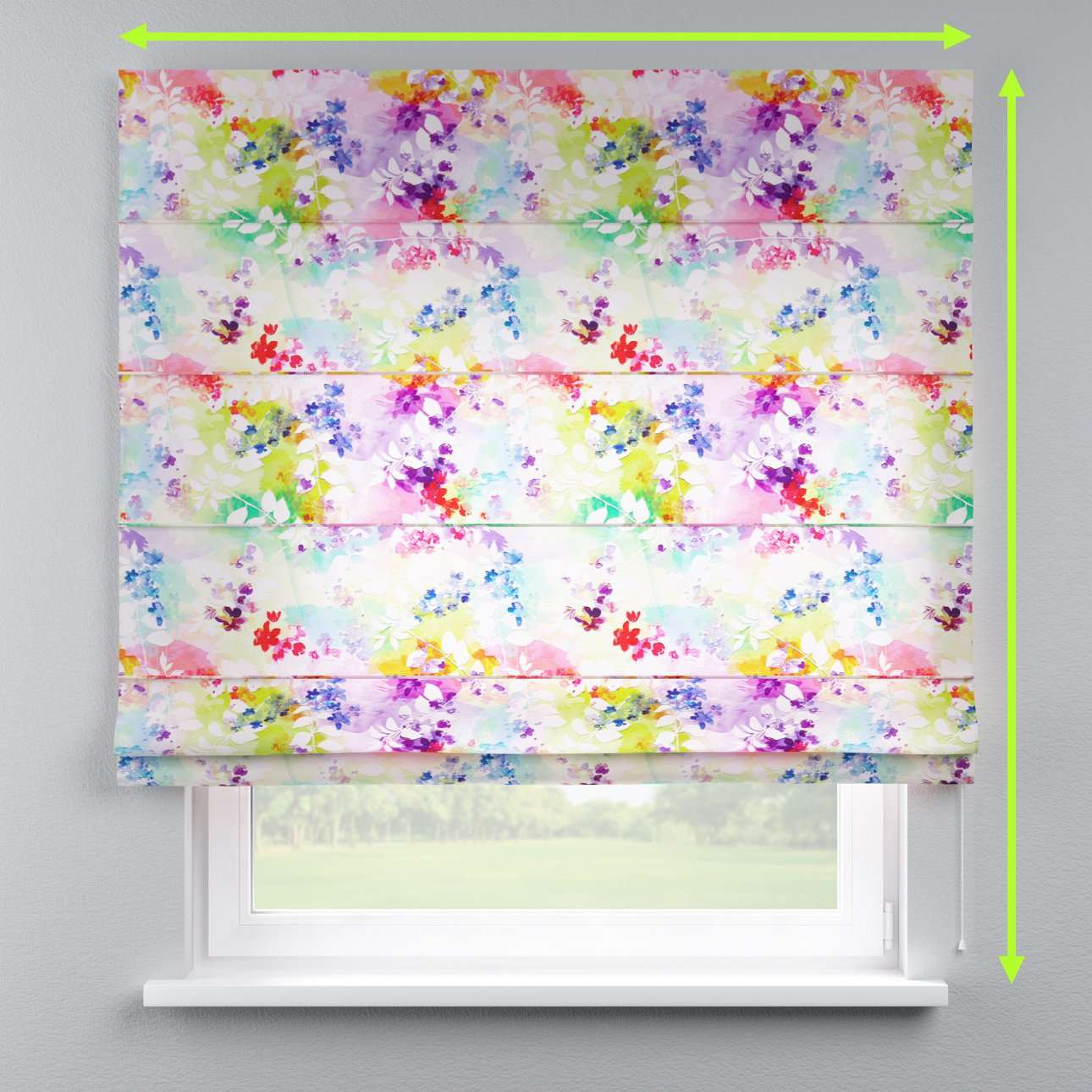 Lined roman blind in collection Monet, fabric: 140-07