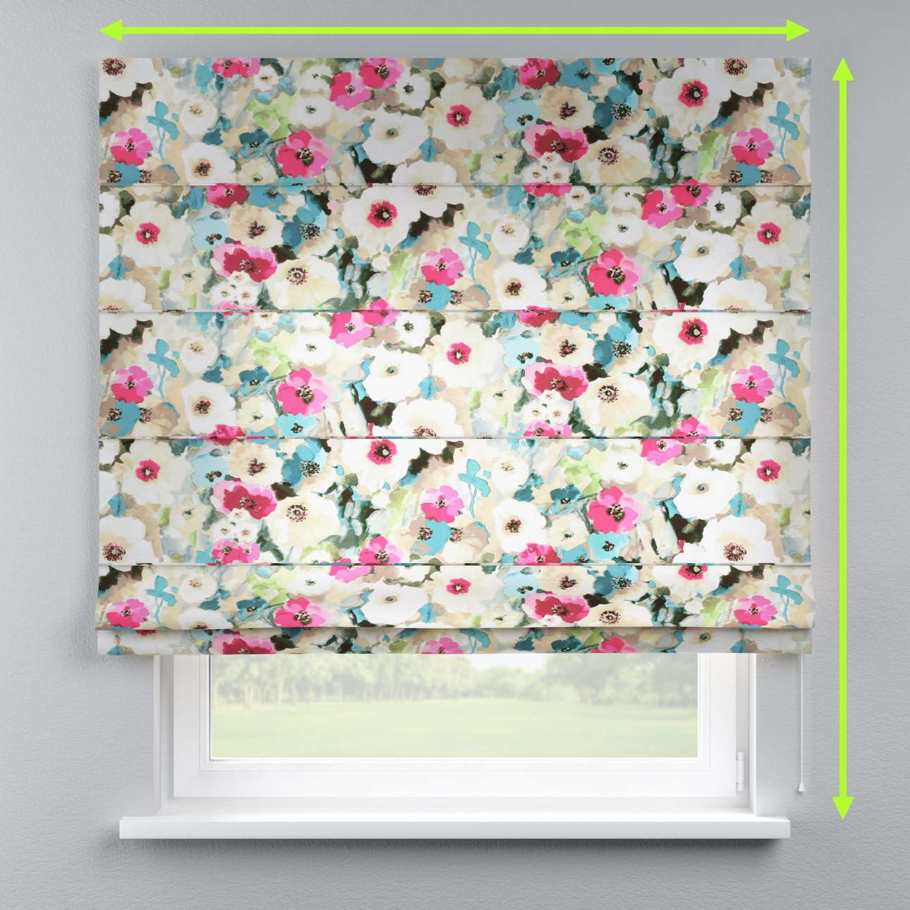 Lined roman blind in collection Monet, fabric: 140-08