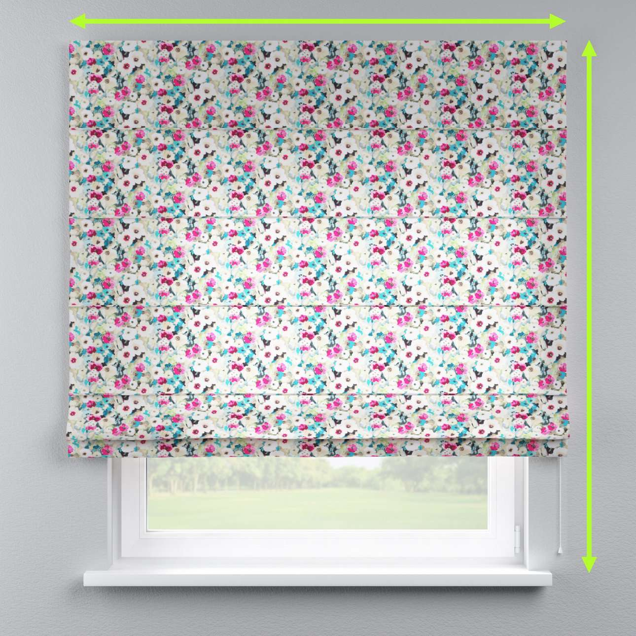 Lined roman blind in collection Monet, fabric: 140-10