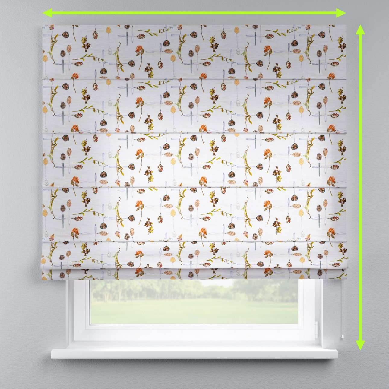 Lined roman blind in collection Flowers, fabric: 140-11