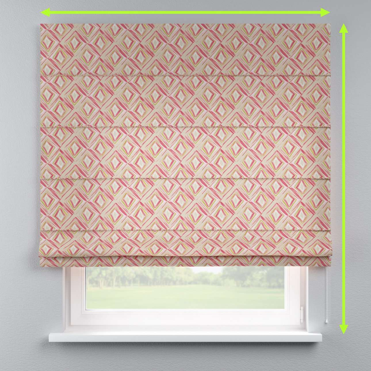 Lined roman blind in collection Londres, fabric: 140-45