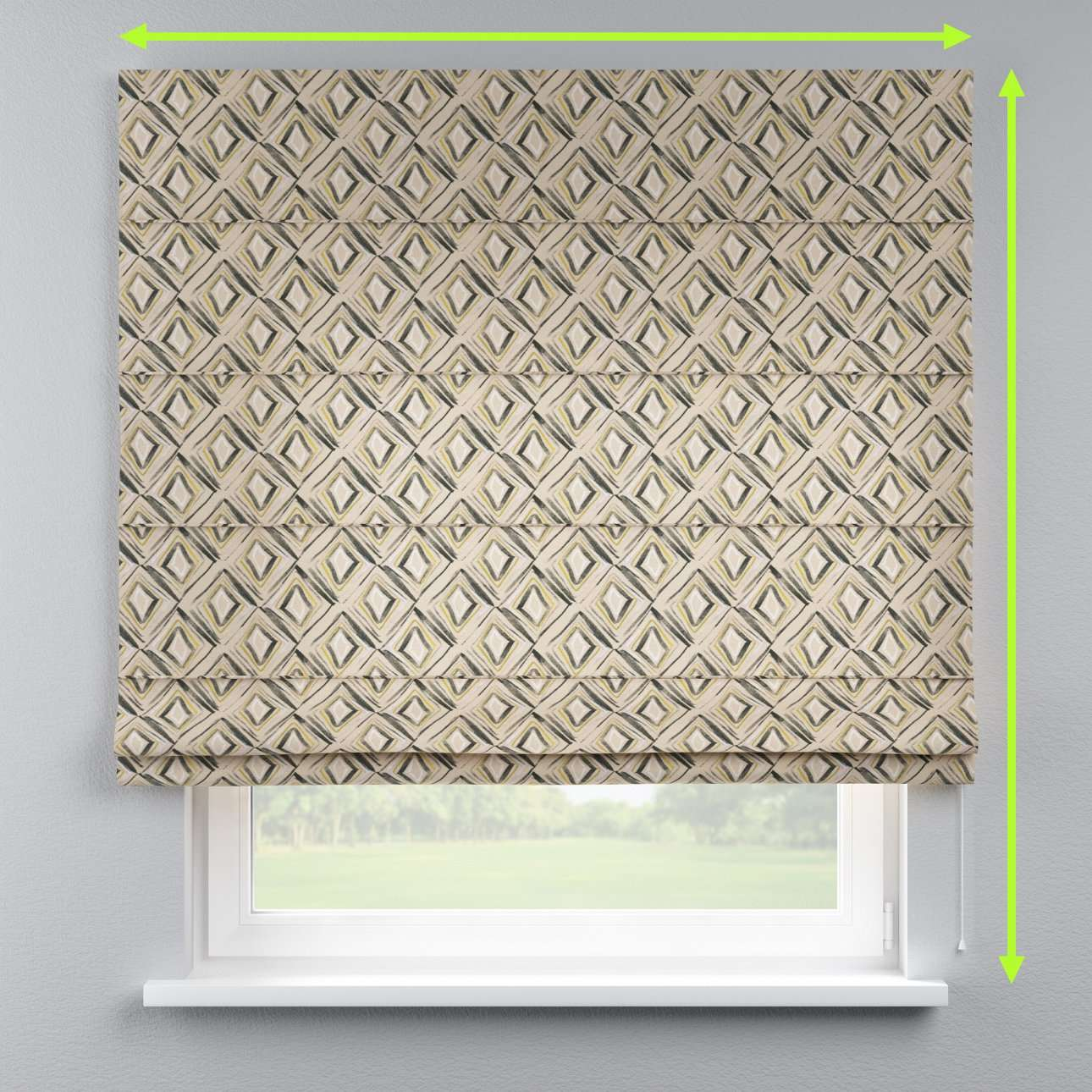 Lined roman blind in collection Londres, fabric: 140-46