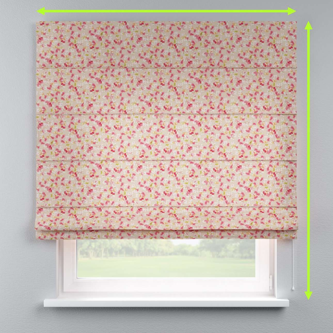 Lined roman blind in collection Londres, fabric: 140-47