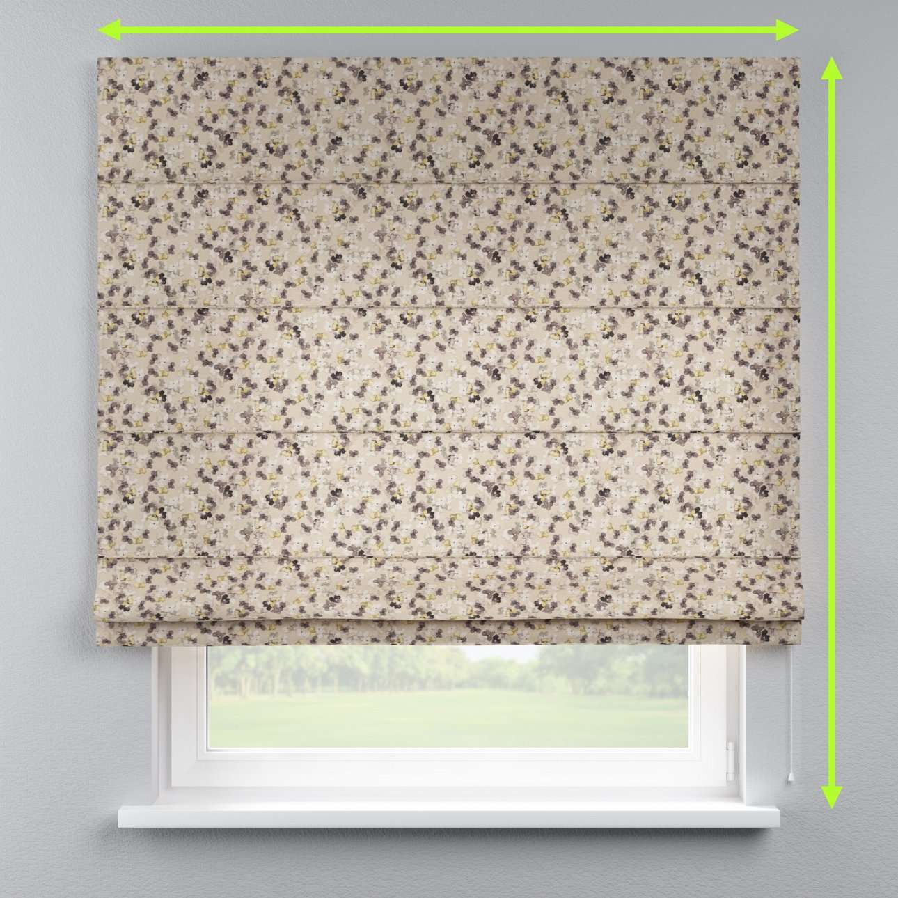 Lined roman blind in collection Londres, fabric: 140-48
