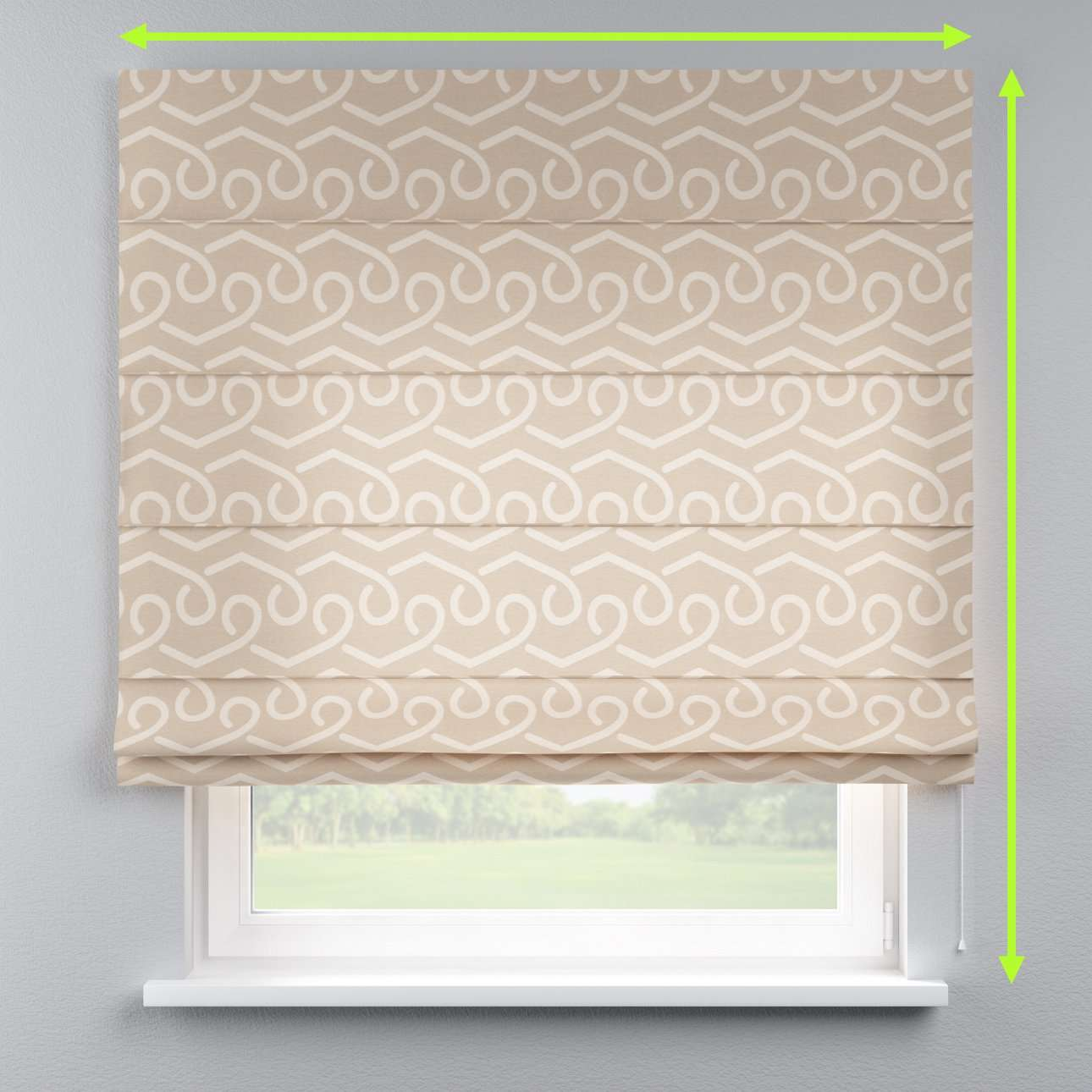 Lined roman blind in collection Rustica, fabric: 140-58
