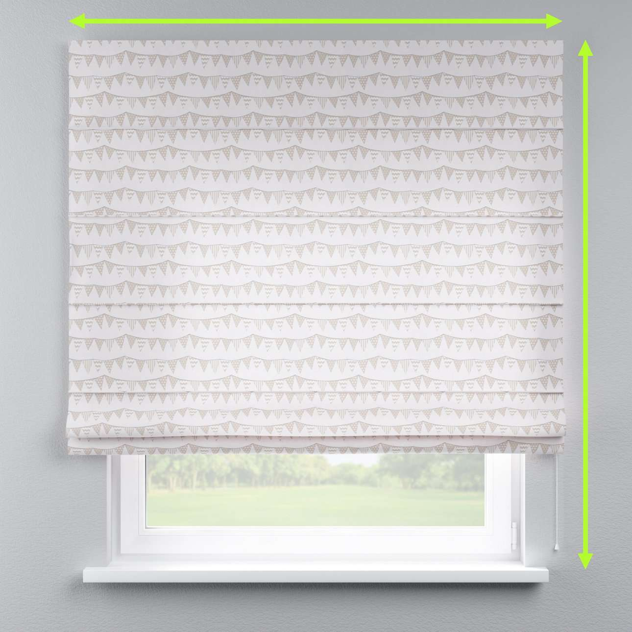 Lined roman blind in collection Marina, fabric: 140-65