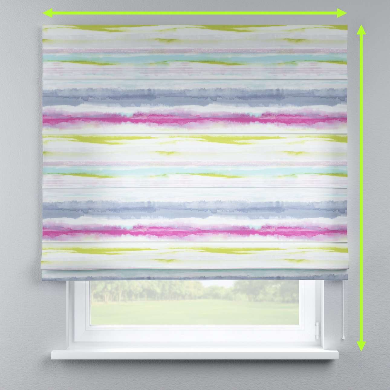 Lined roman blind in collection Aquarelle, fabric: 140-69