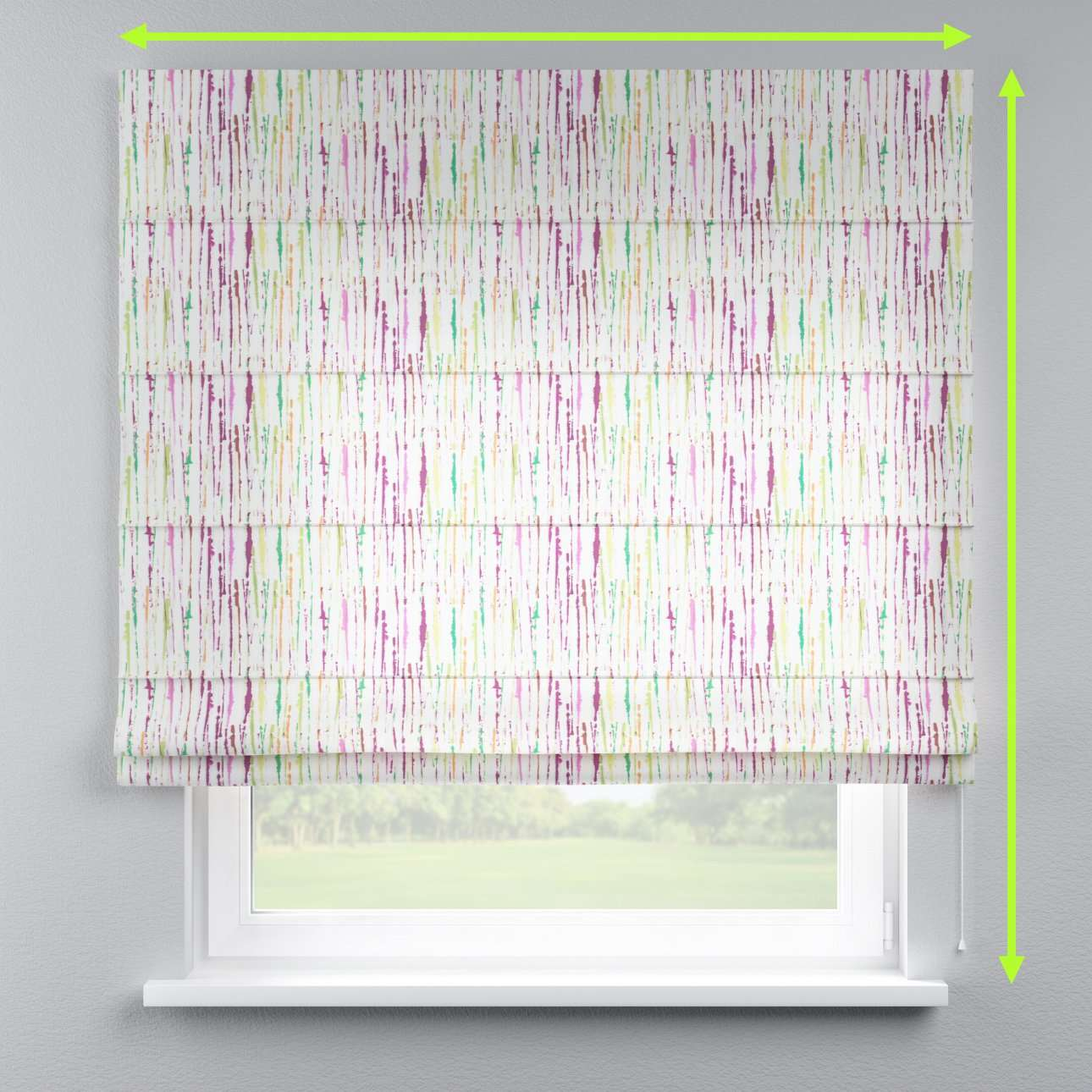 Lined roman blind in collection Aquarelle, fabric: 140-72