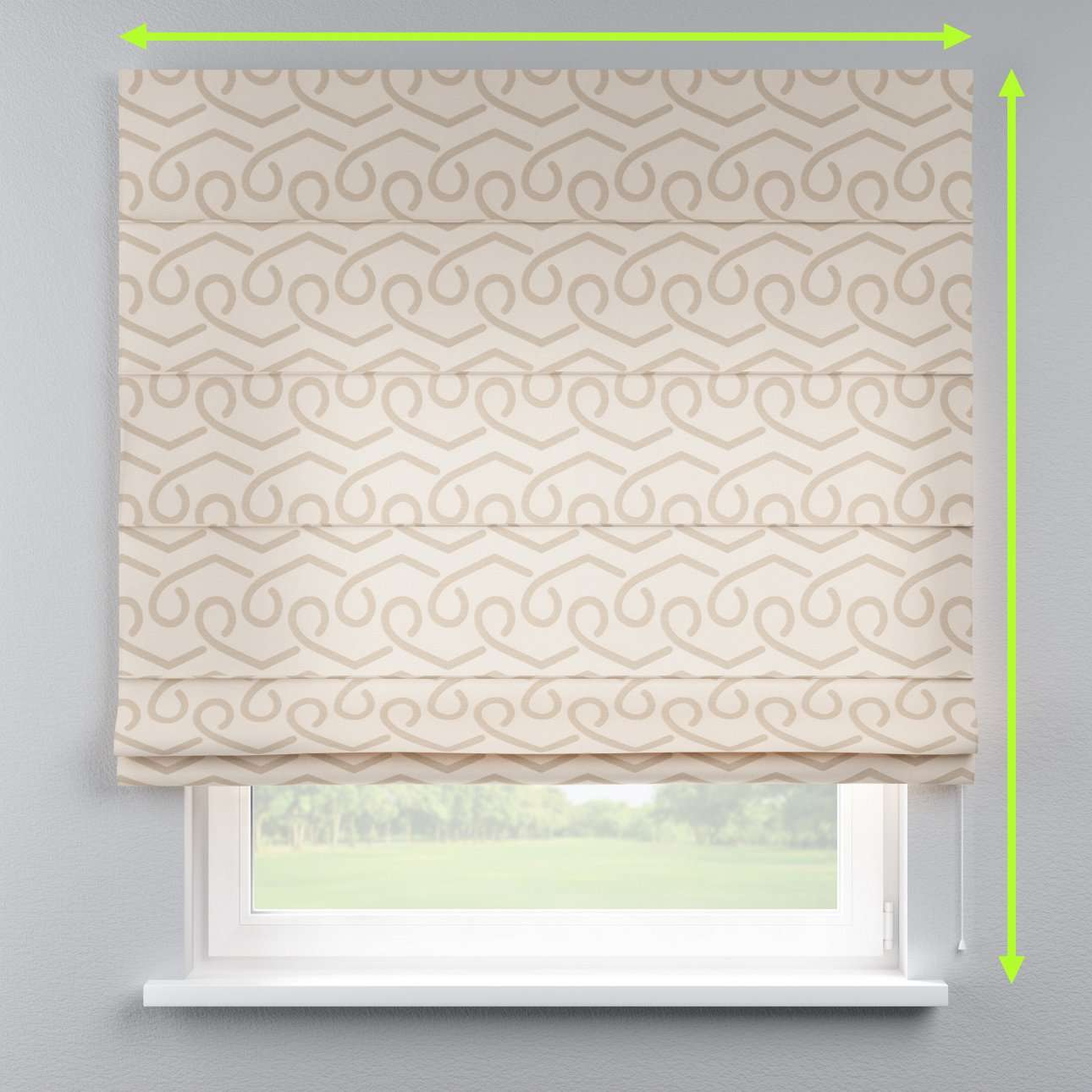 Lined roman blind in collection Rustica, fabric: 140-85