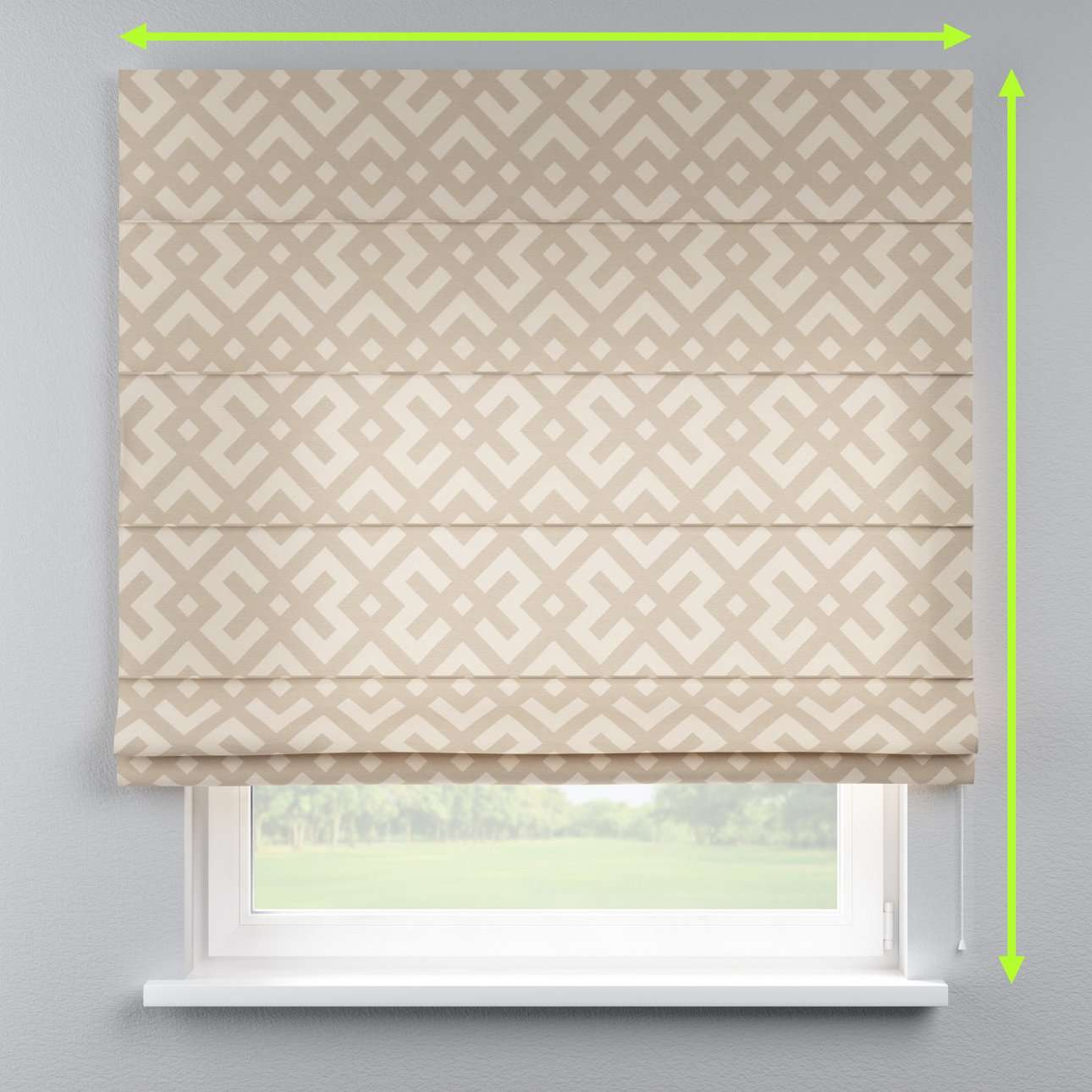 Lined roman blind in collection Rustica, fabric: 140-95