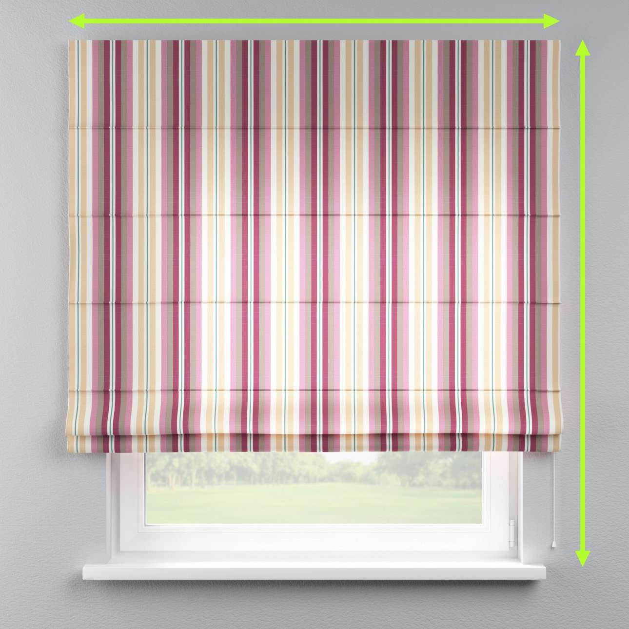 Lined roman blind in collection Mirella, fabric: 141-14
