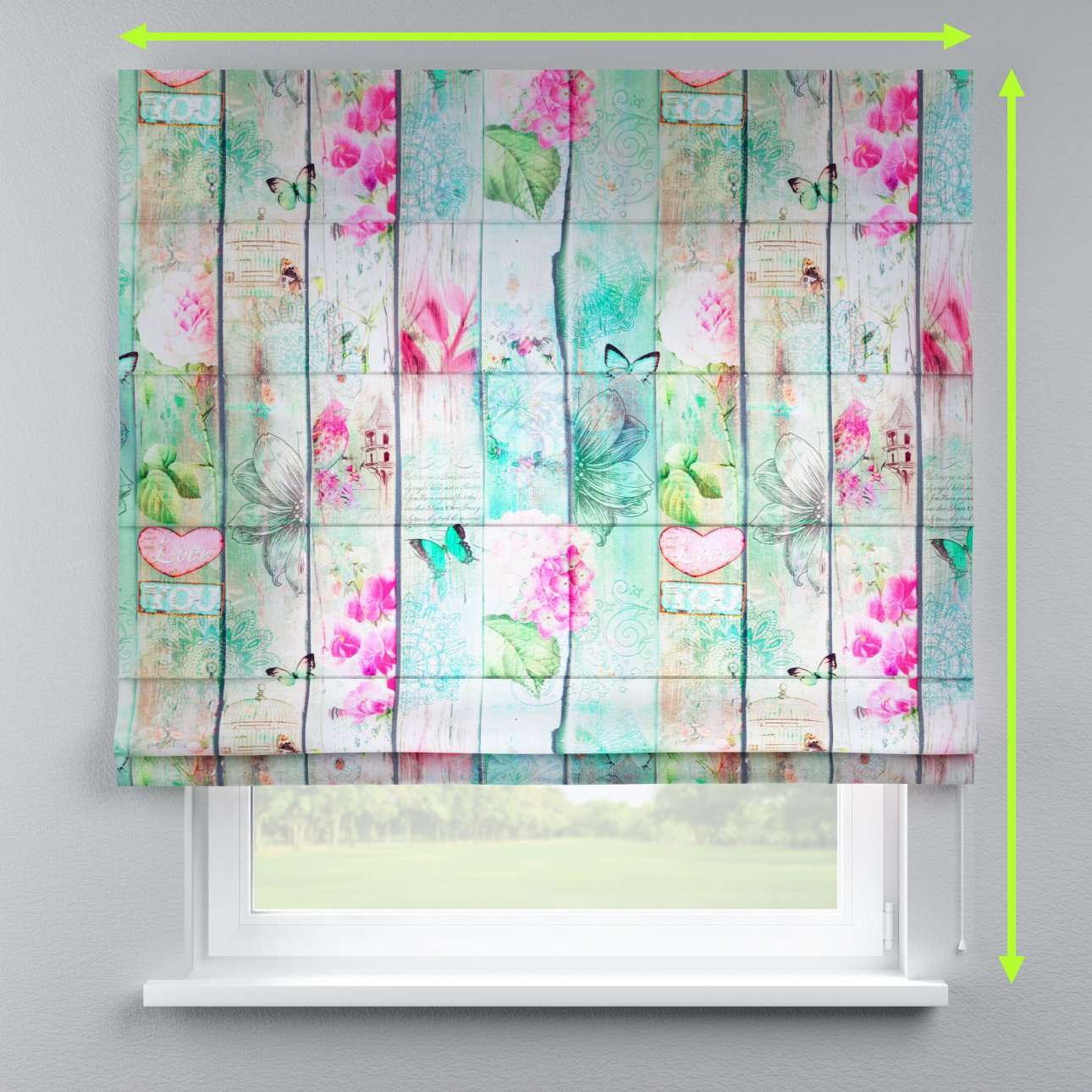 Lined roman blind in collection Norge, fabric: 150-07