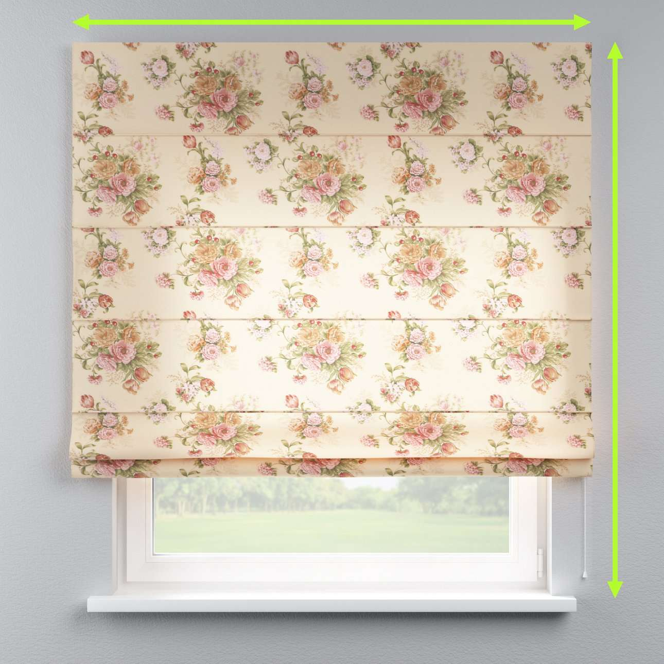 Lined roman blind in collection Flowers, fabric: 302-01