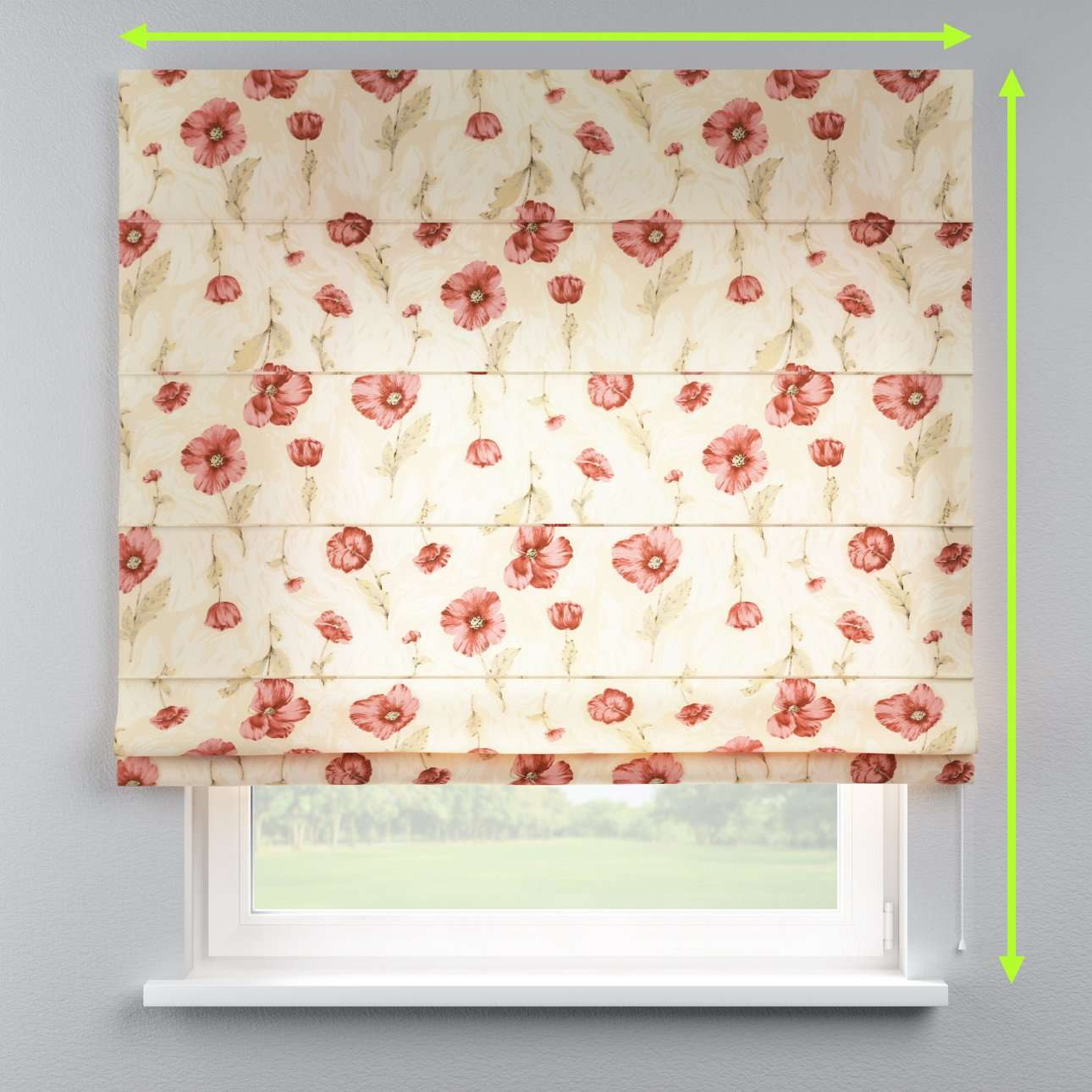 Lined roman blind in collection Flowers, fabric: 303-01
