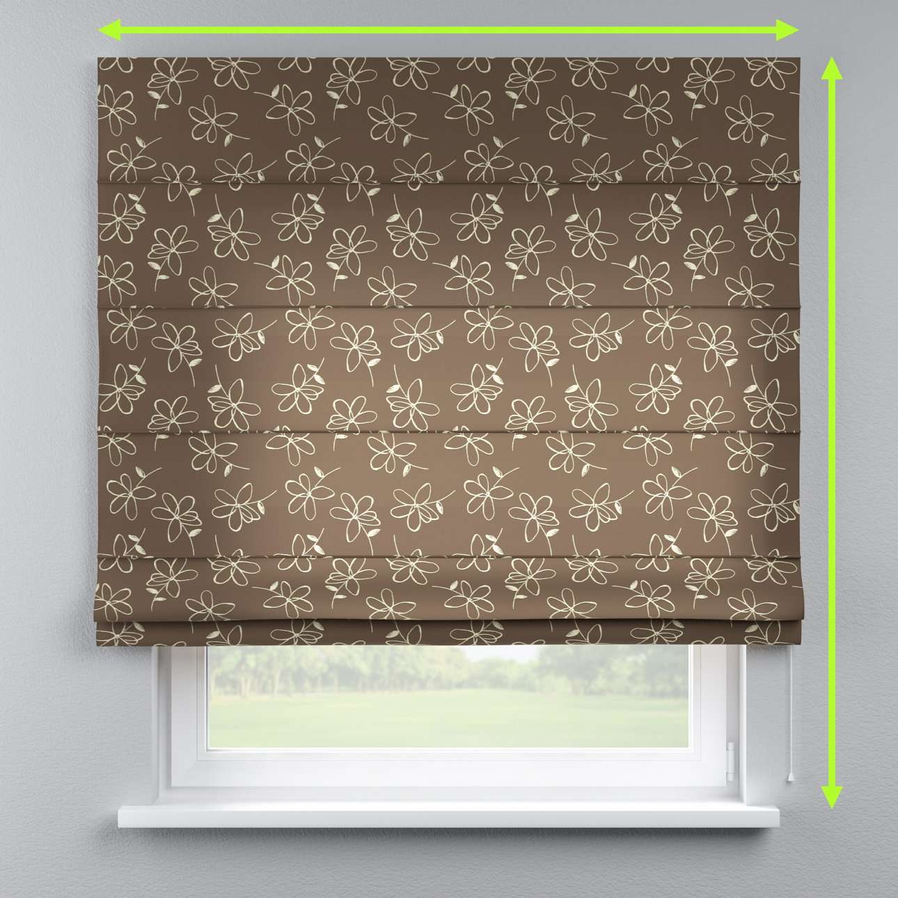 Lined roman blind in collection Flowers, fabric: 311-03