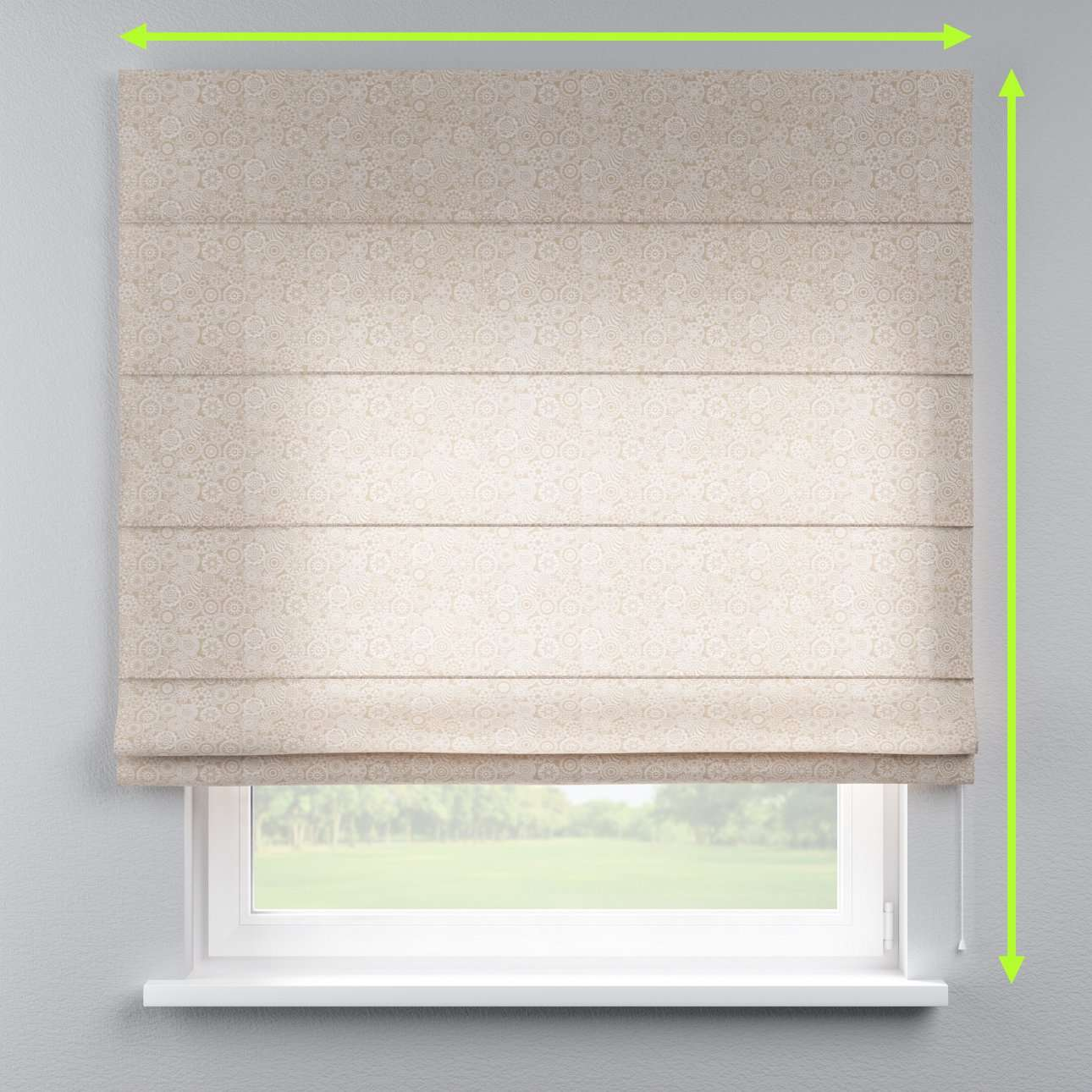 Lined roman blind in collection Flowers, fabric: 311-09