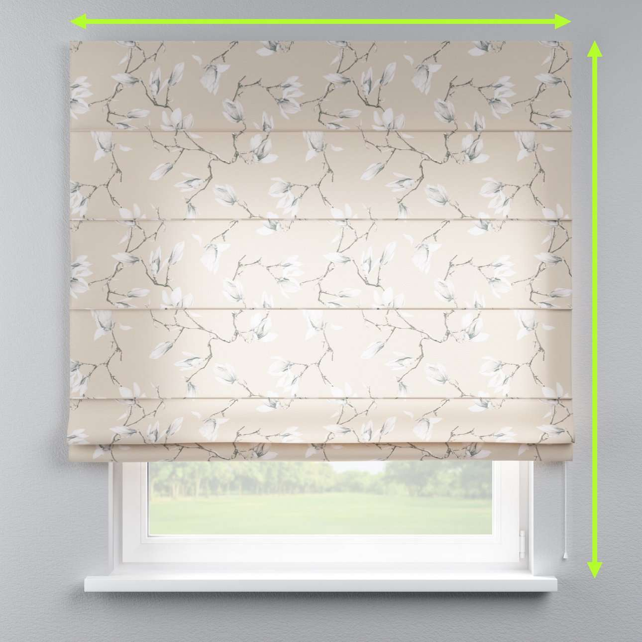 Lined roman blind in collection Flowers, fabric: 311-12