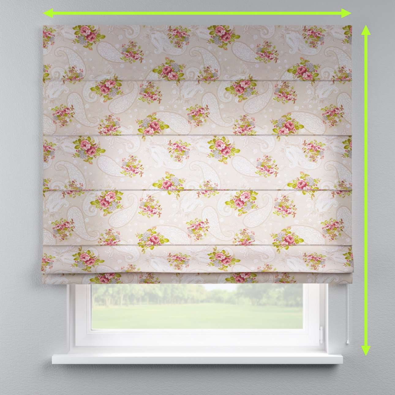 Lined roman blind in collection Flowers, fabric: 311-15