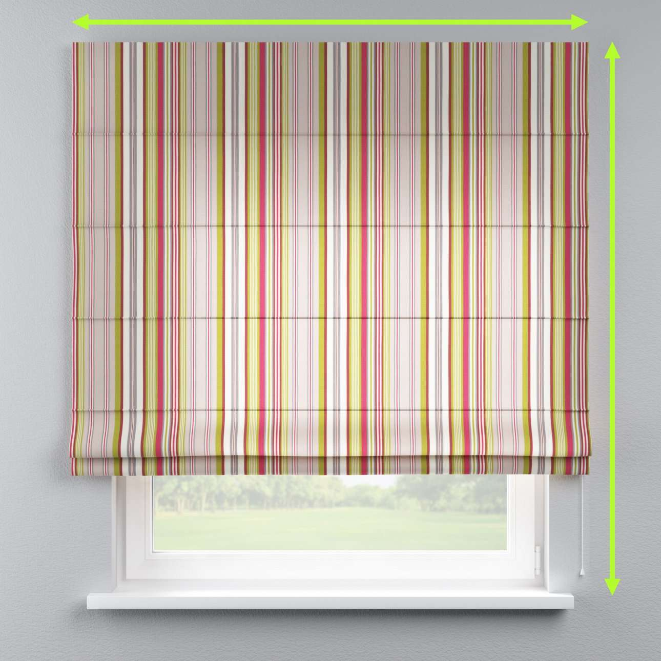 Lined roman blind in collection Flowers, fabric: 311-16